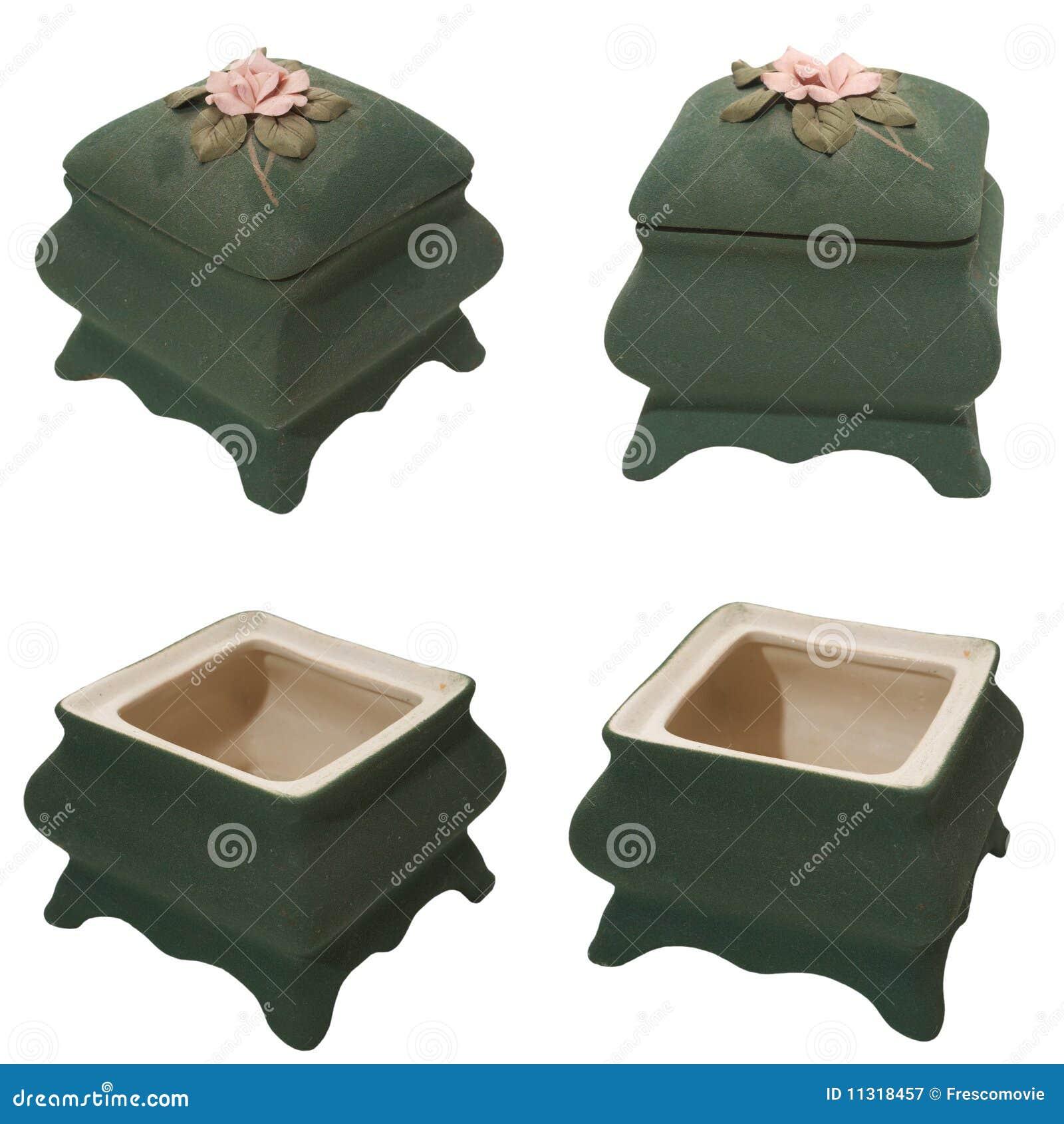 Grüner Porzellanwunschbehälter