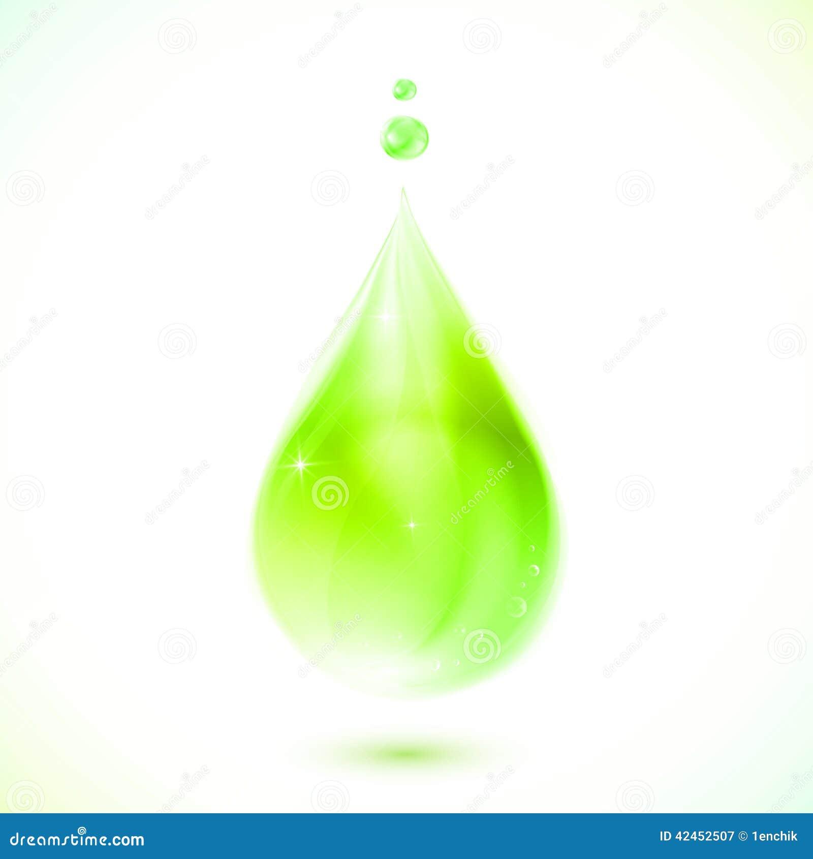 Grüner realistischer Vektoröltropfen