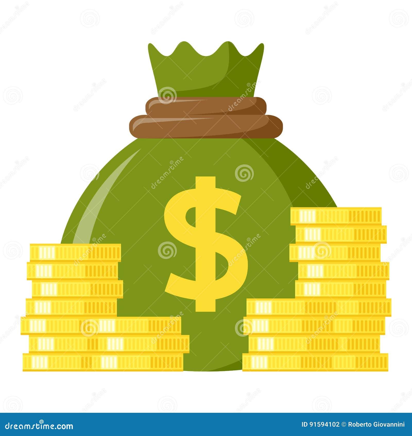 Grüner Sack der Geld-u. Münzen-flachen Ikone