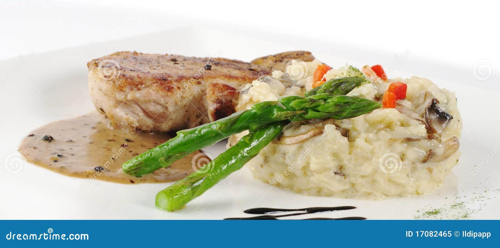 Grüner Spargel, Reis, Fleisch