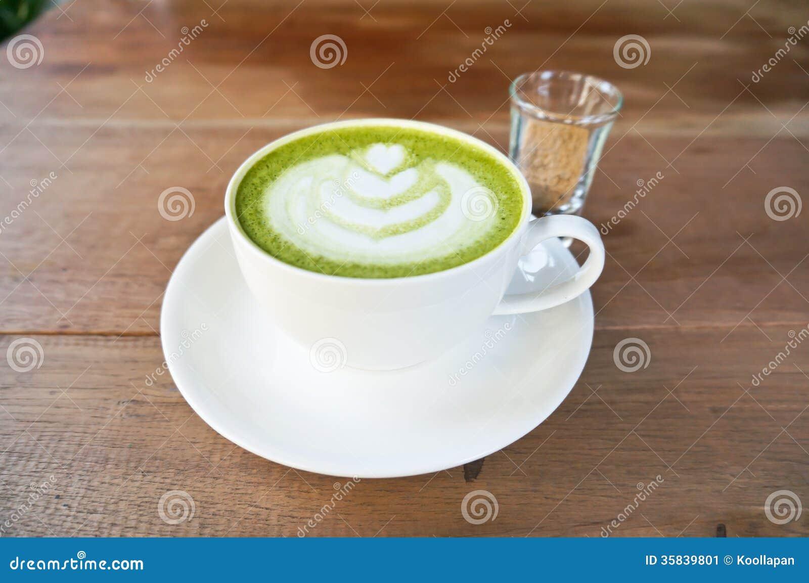 Grüner Tee Matcha Latte Stockbild Bild Von Sahne Hintergrund