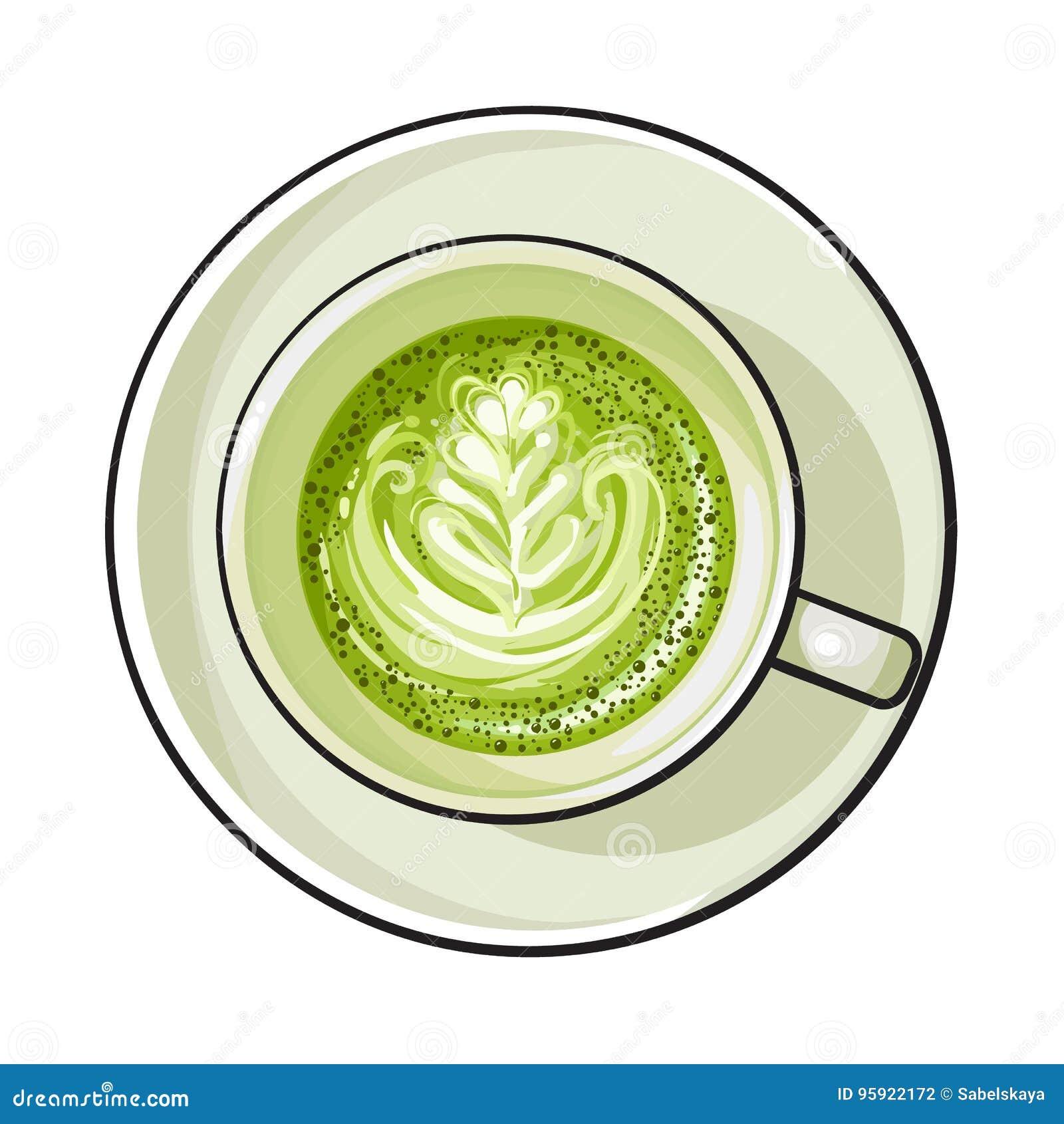Grüner Tee Matcha Latte Cappuccinogetränk Draufsicht Vektor