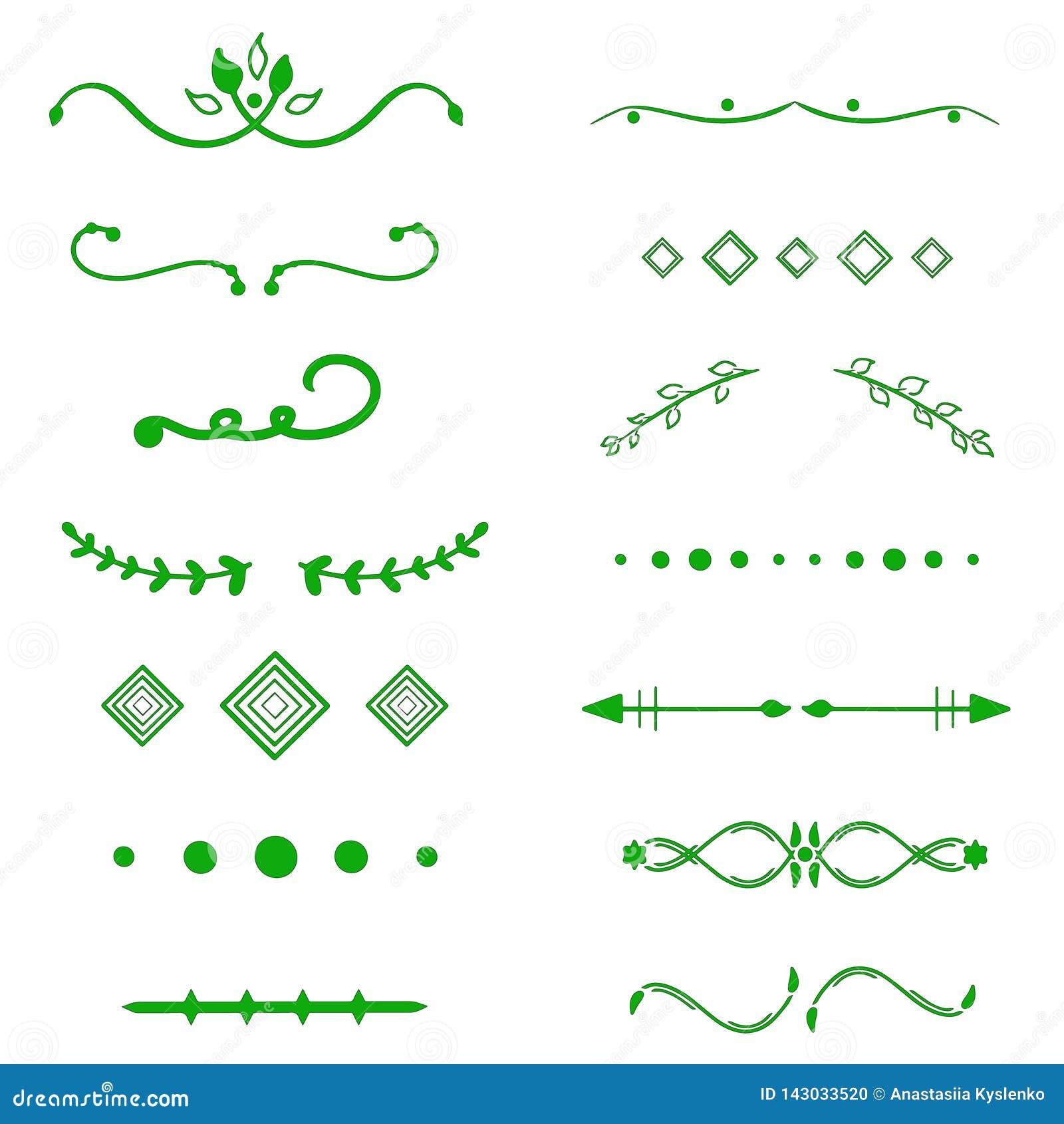 Grüner Teilervektor auf weißem Hintergrund Handdrawn Grenzen Einzigartiger Strudel, Teiler Tinte, Bürstenlinien, Lorbeersatz