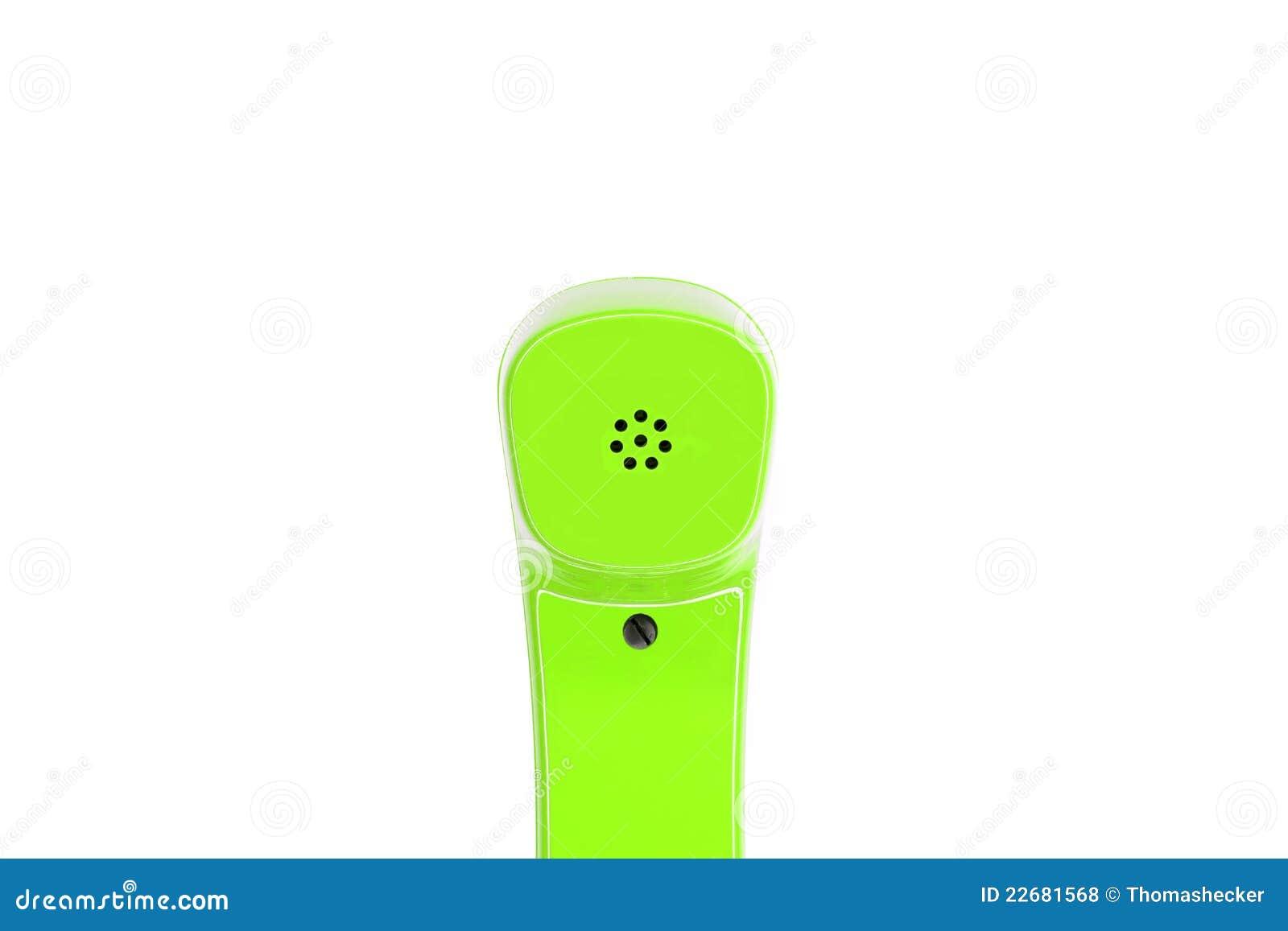 Grüner Telefonhörer im Detail