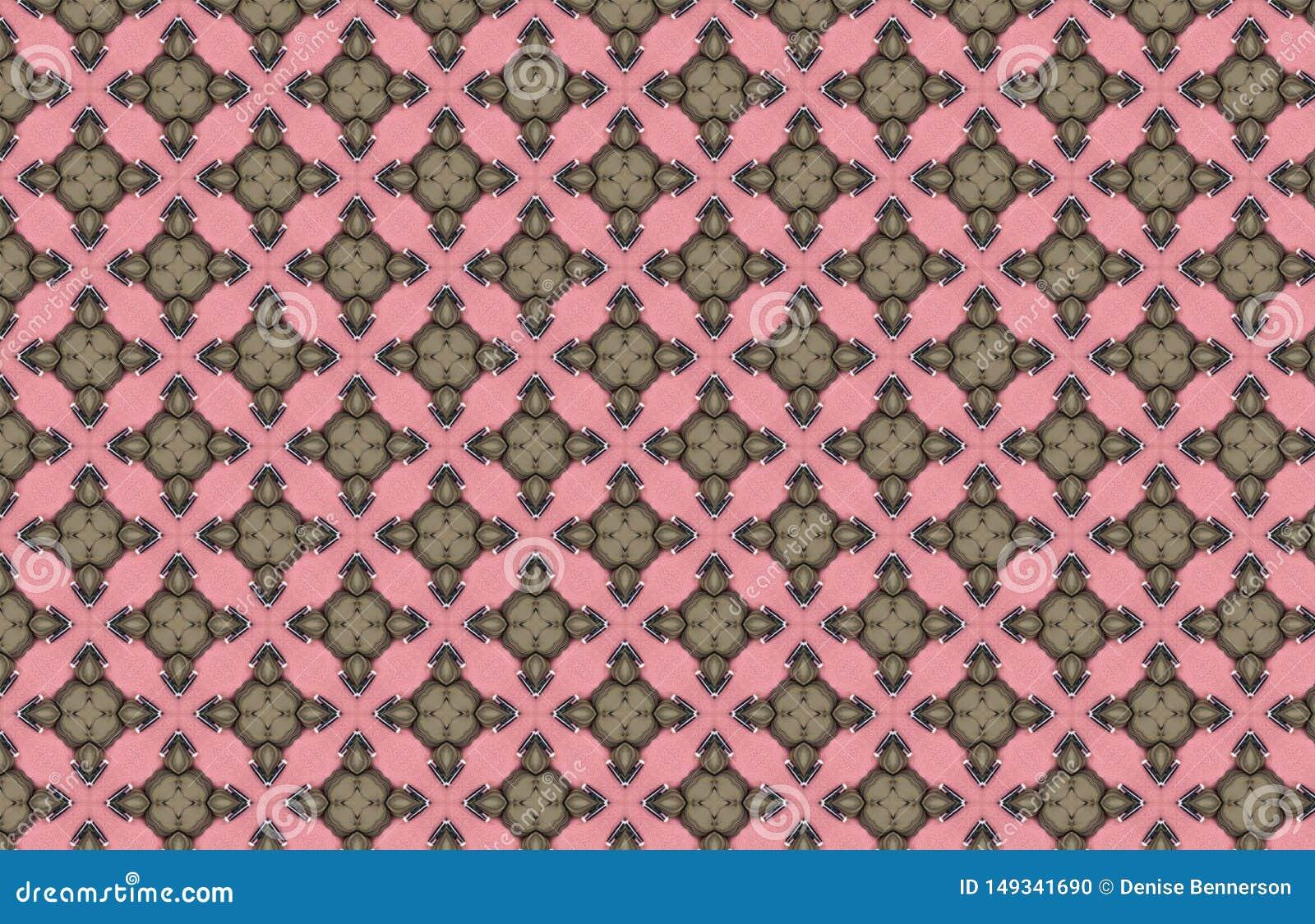 Grünes Art Deco Pink Geometric Design-Muster