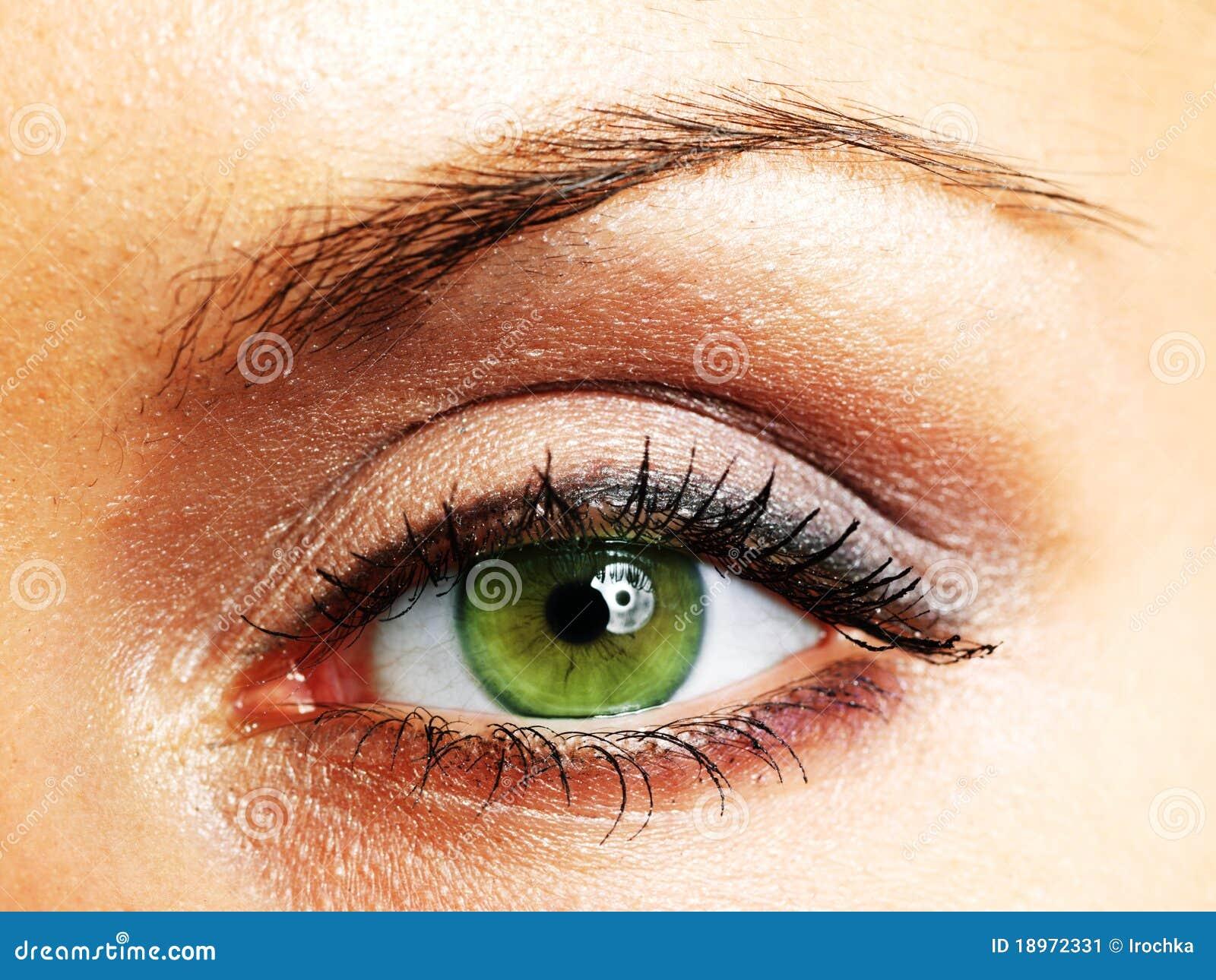 Grünes Auge der Frau stockbild. Bild von kaukasisch