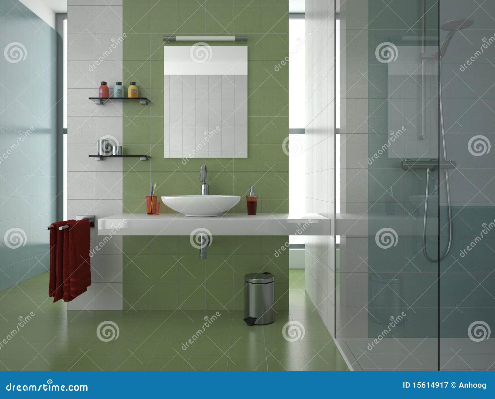 Grünes Badezimmer stock abbildung. Illustration von fliesen ...