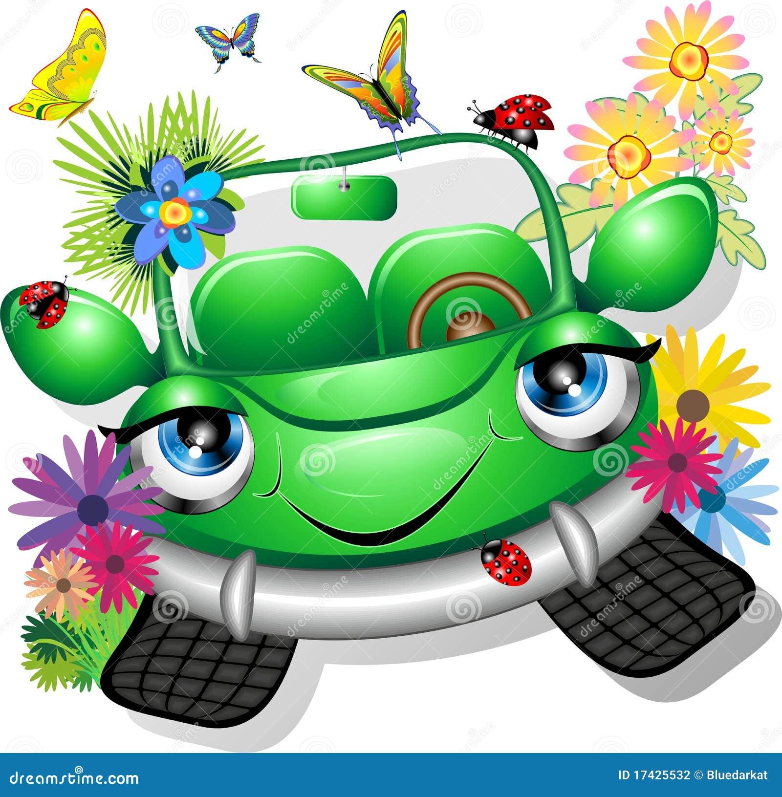 Grünes Karikatur-Auto