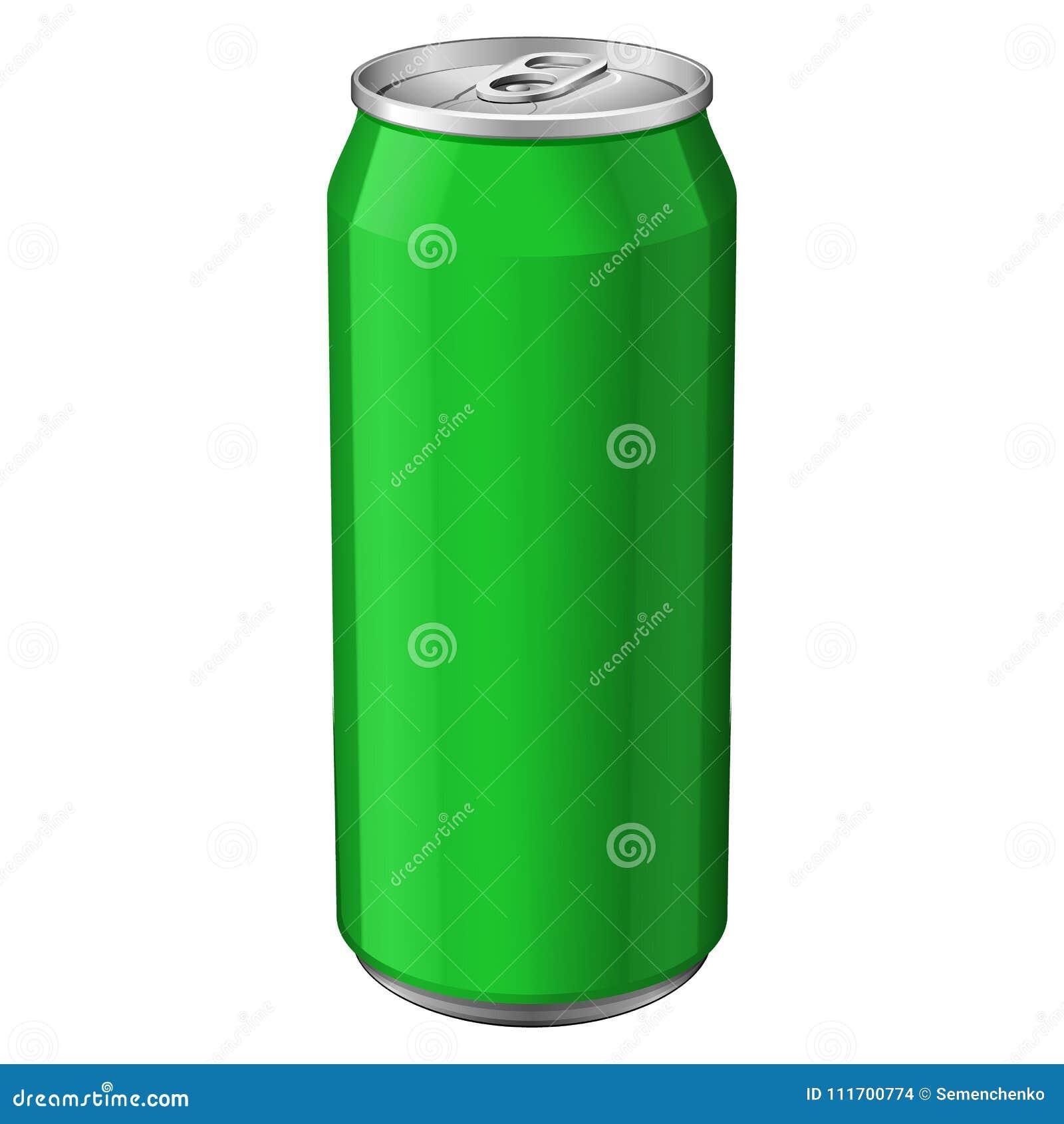 Grünes Metallkann aluminiumgetränkegetränk 330ml Bereiten Sie für Ihre Auslegung vor Produkt-Verpackungs-Vektor
