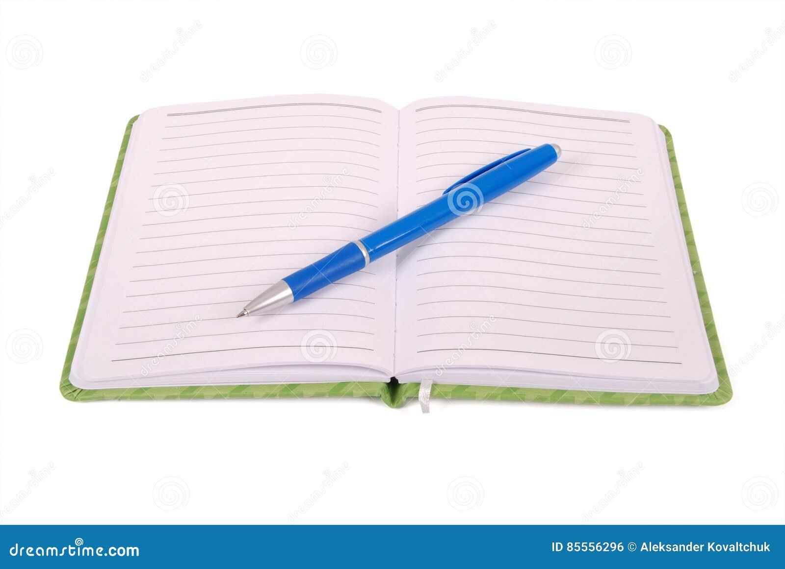 Grünes Notizbuch und blauer Stift