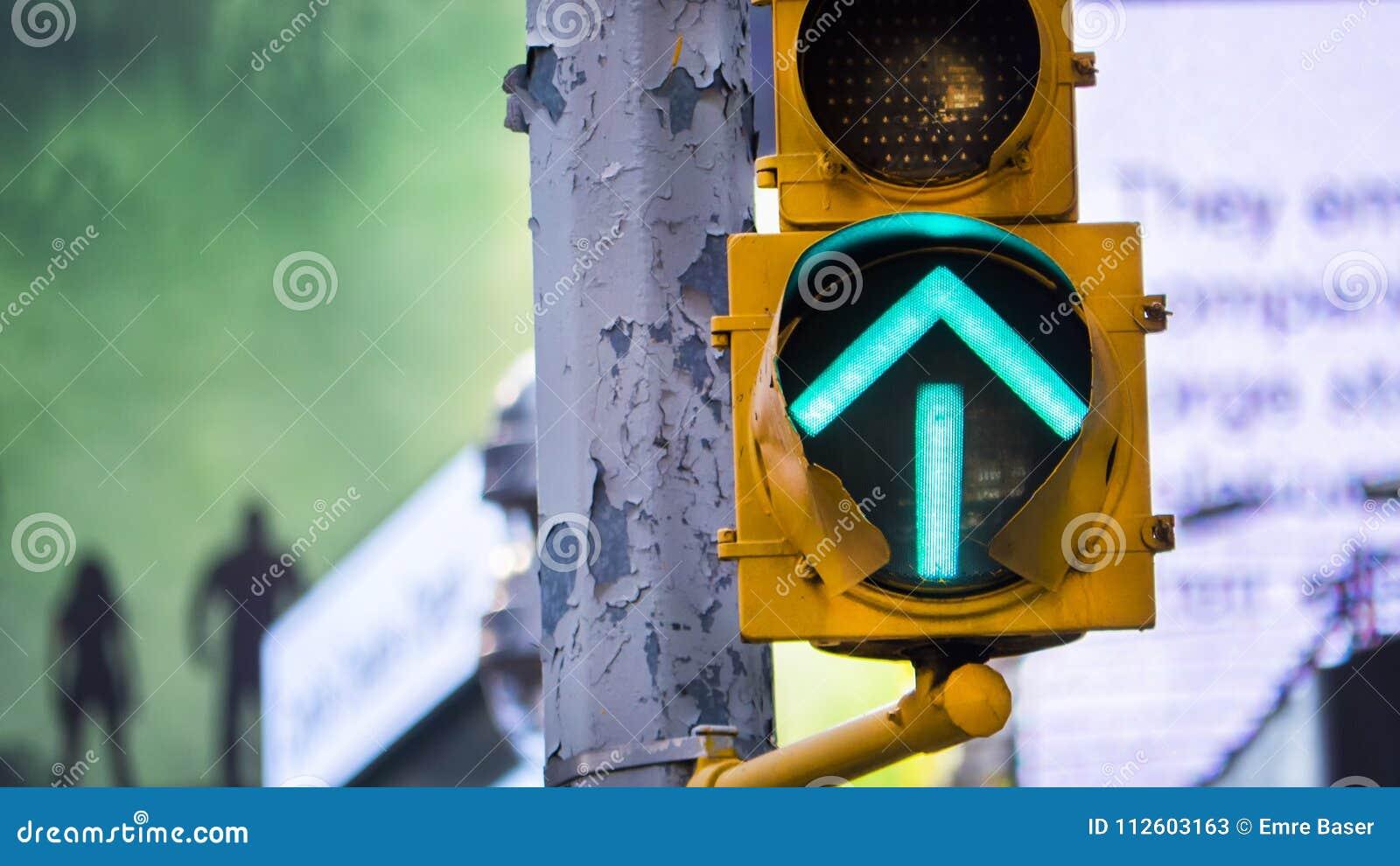 Grünes PfeilVerkehrszeichen in New York City