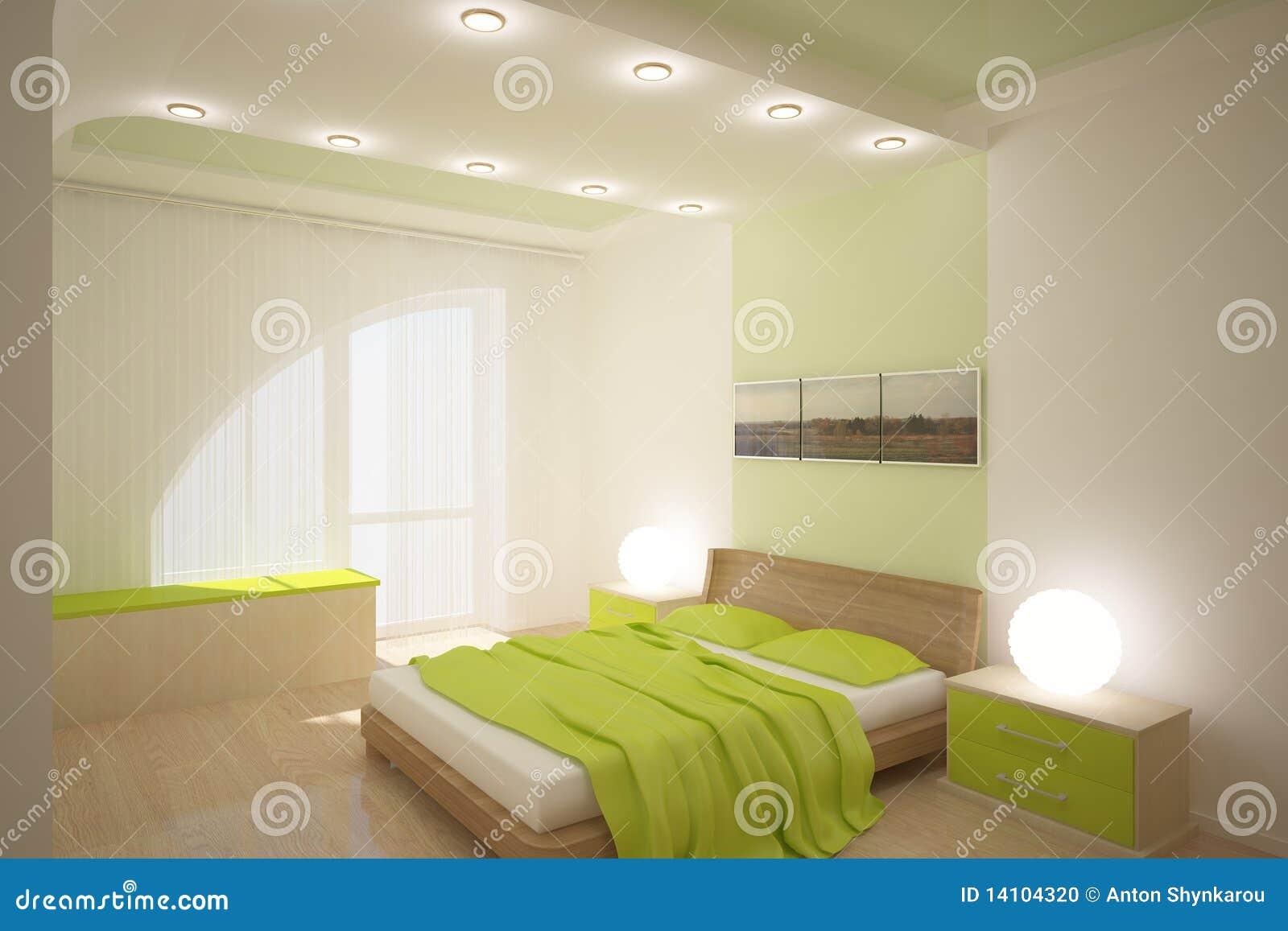 Grünes Schlafzimmer stock abbildung. Illustration von relax - 14104320