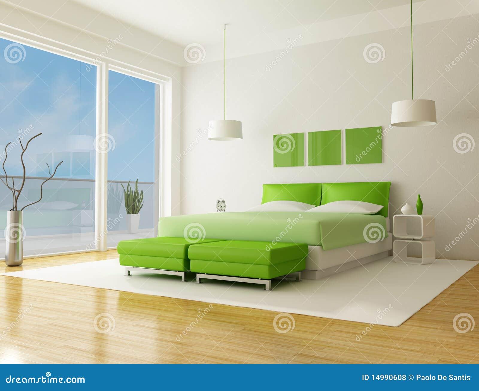 Grünes Schlafzimmer stock abbildung. Illustration von weiß - 14990608