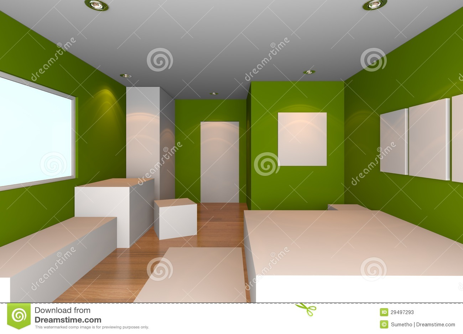 Grünes Schlafzimmer stock abbildung. Illustration von regal - 29497293