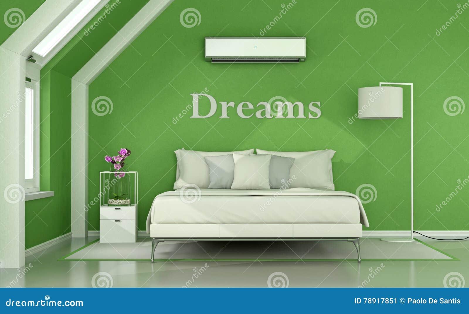Fußboden Schlafzimmer Xl ~ Grünes schlafzimmer im dachboden stock abbildung illustration von