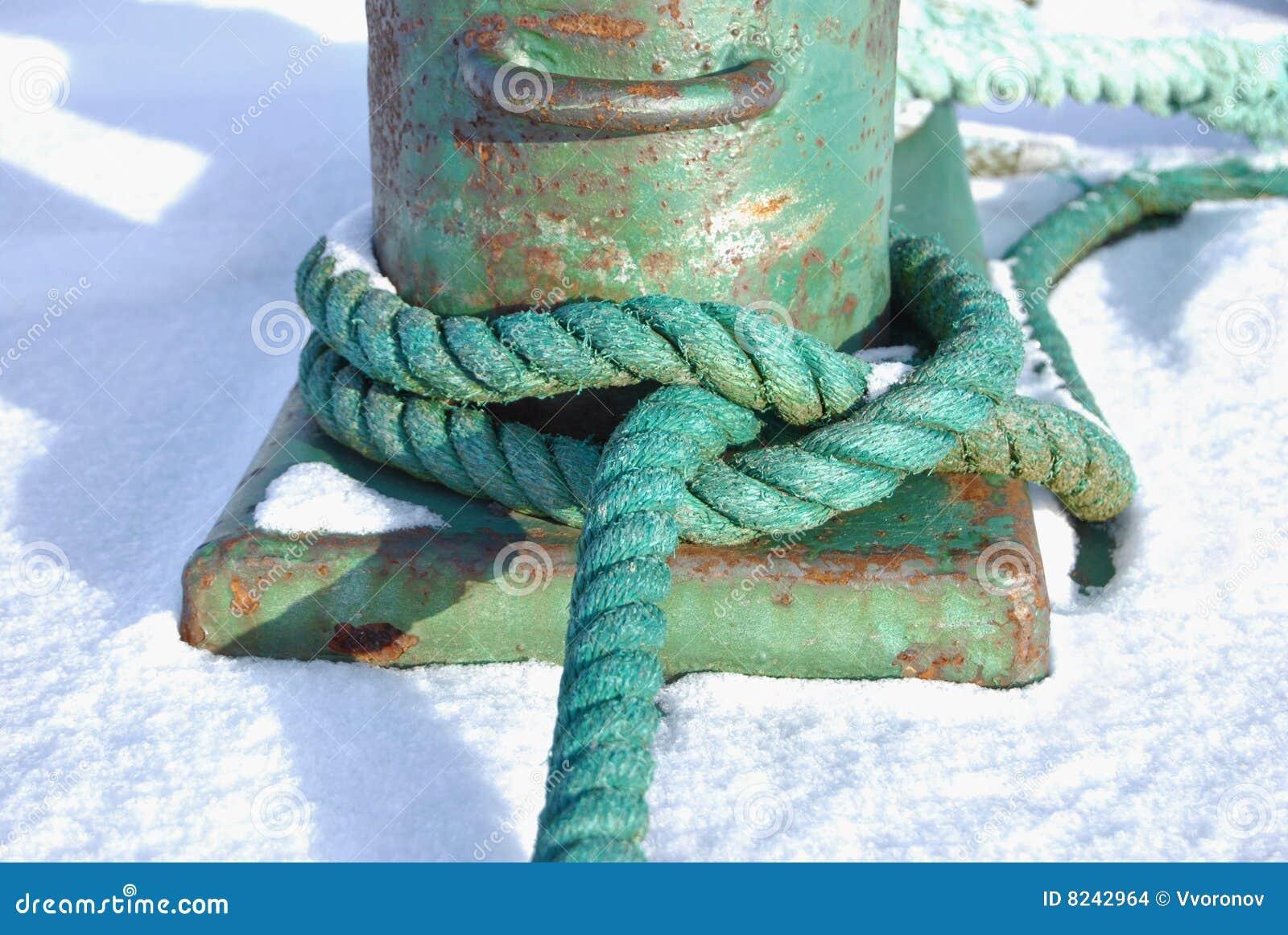 Grünes Seil geknotet um einen Schiffspoller