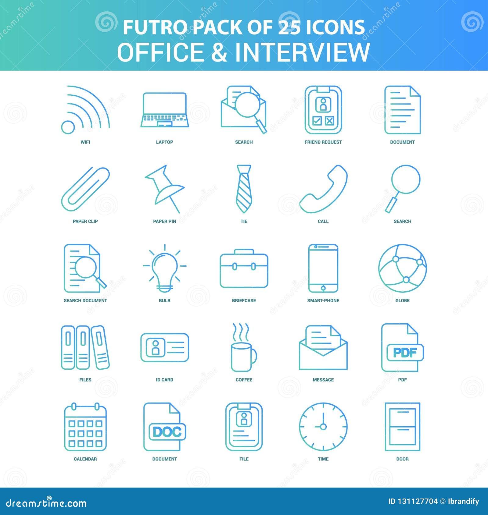 25 grünes und blaues Futuro-Büro und Interview-Ikonen-Satz