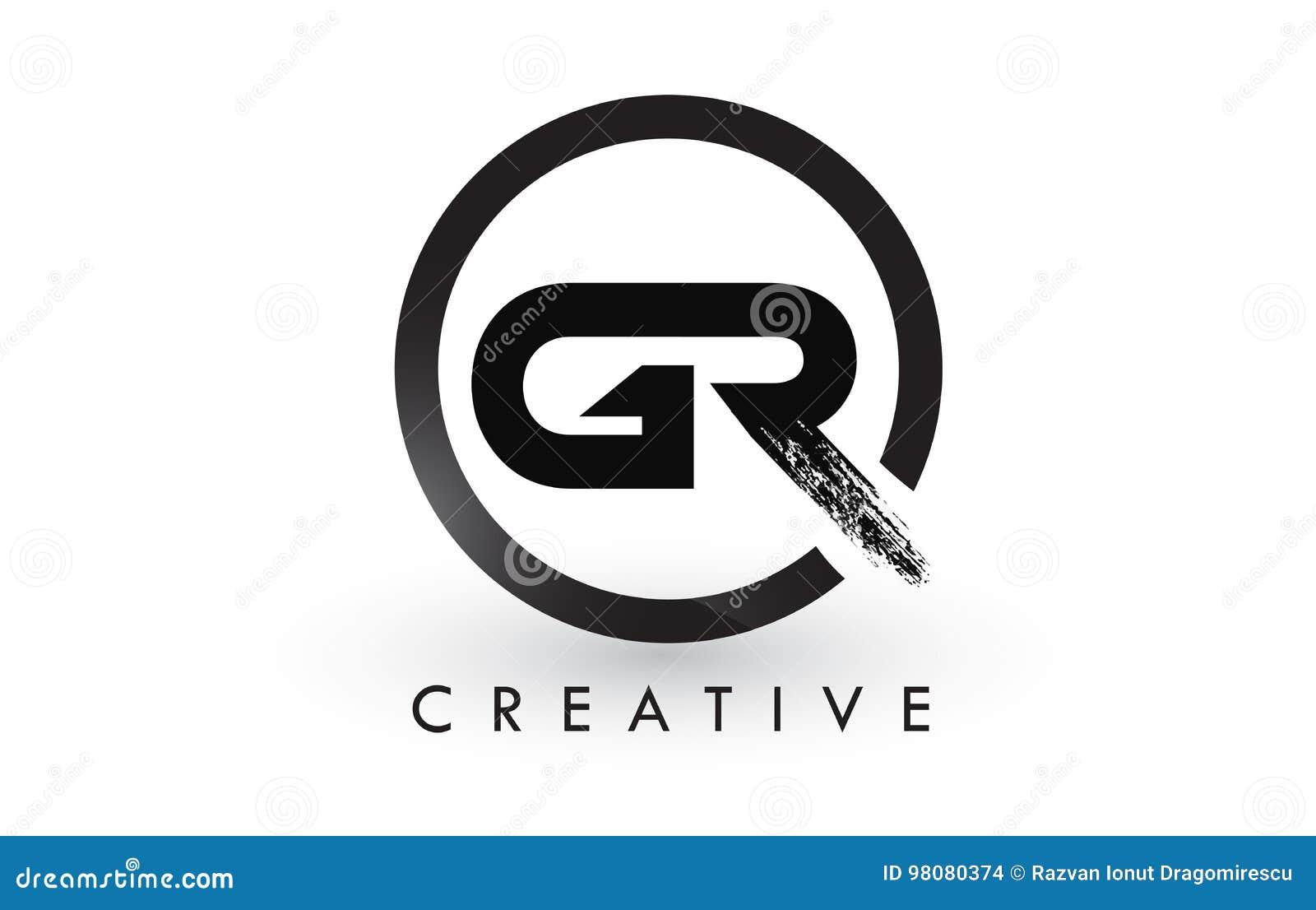 2625675ccc92 GR Brush Letter Logo Design. Creative Brushed Letters Icon Logo ...