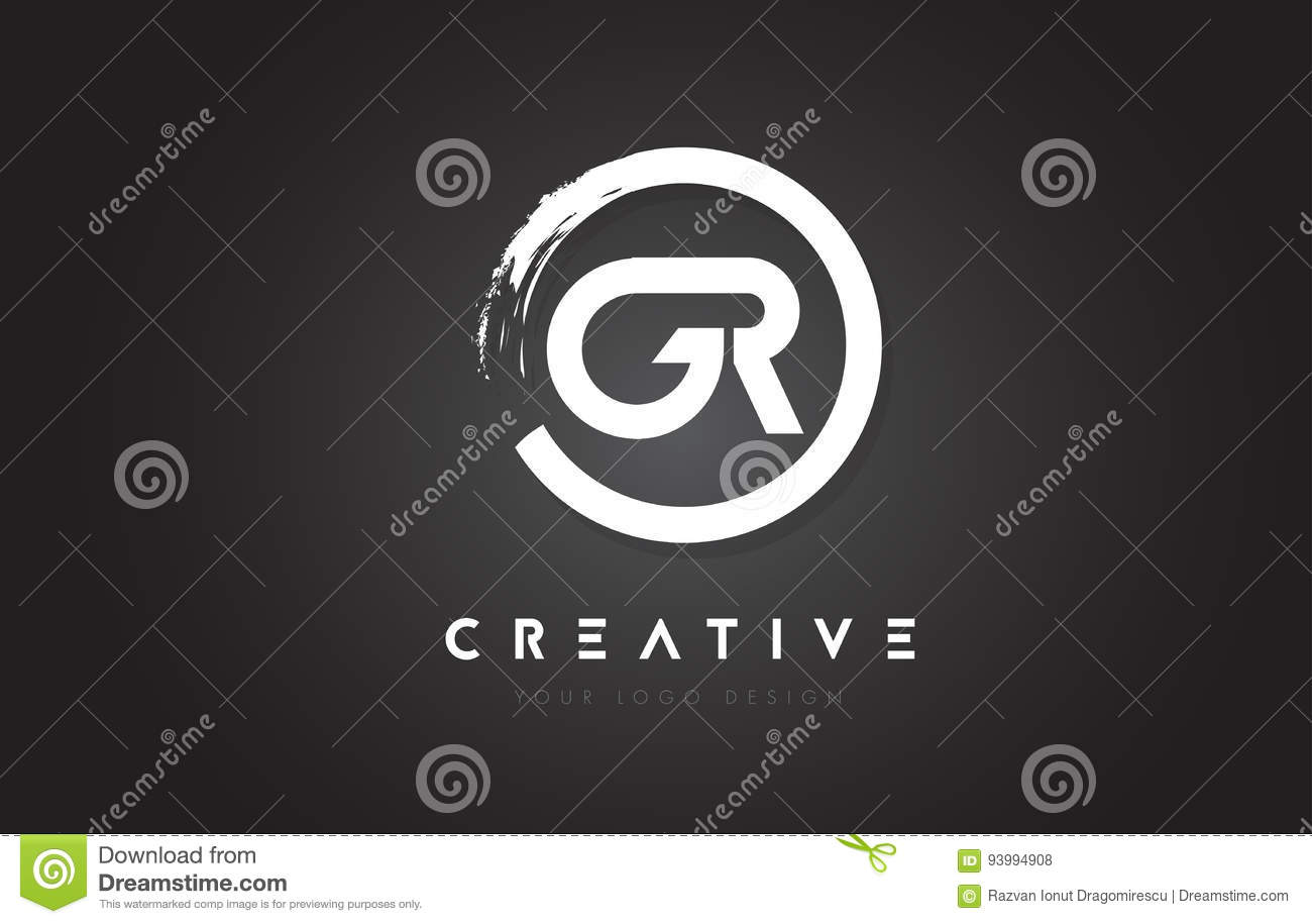 c8a014c44c4d GR Circular Letter Logo with Circle Brush Design and Black Background.