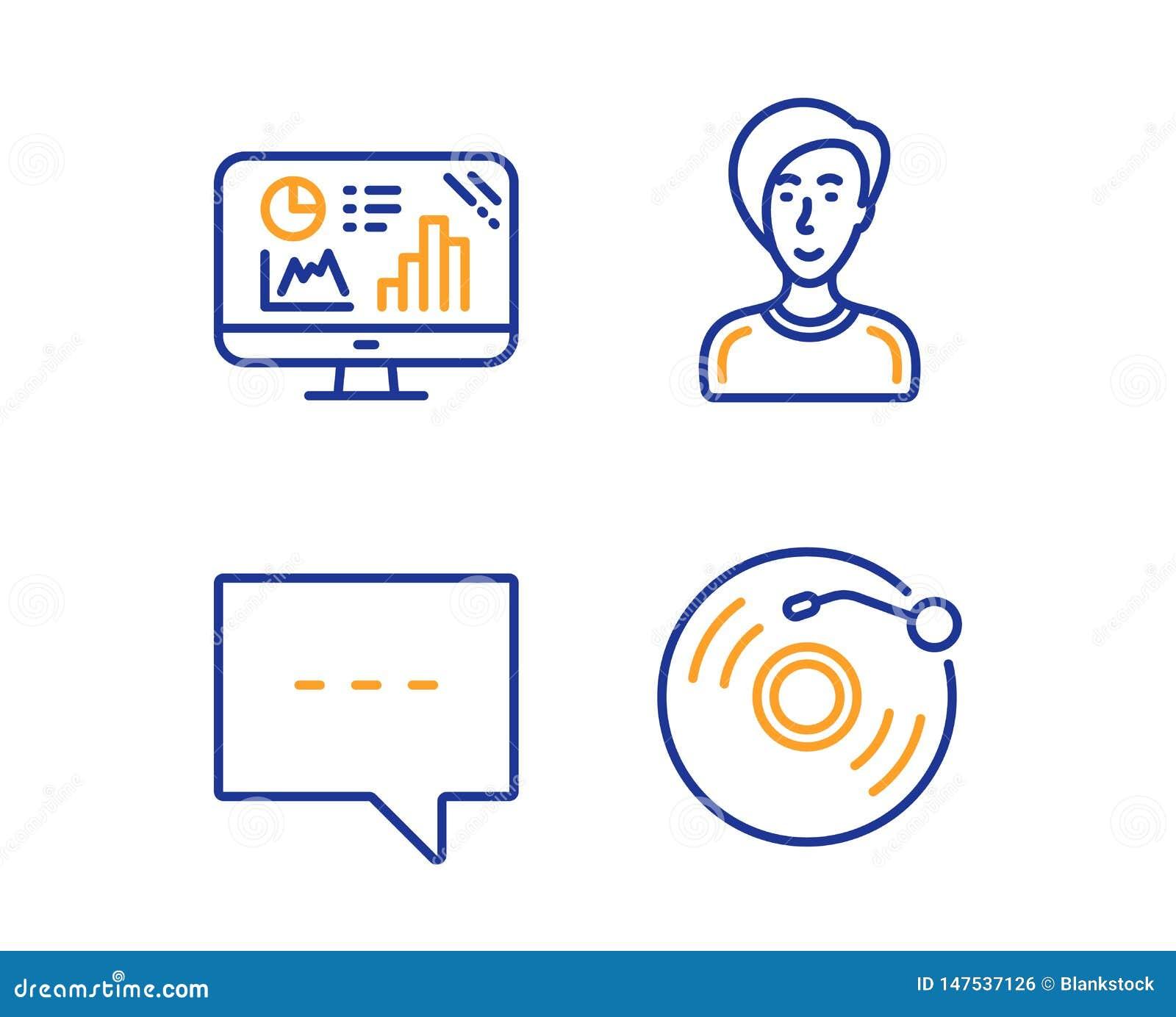 Gr?fico del Analytics, sistema de los iconos de la persona del blog y de la empresaria Muestra del disco de vinilo Vector