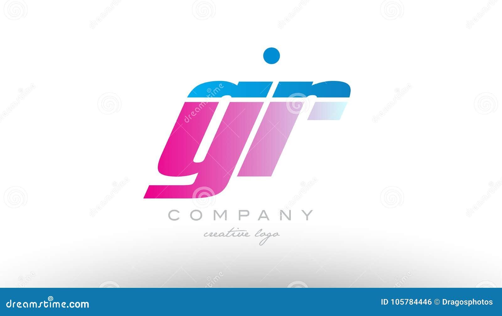 Gr G R Alphabet Letter Combination Pink Blue Bold Logo Icon Desi ...