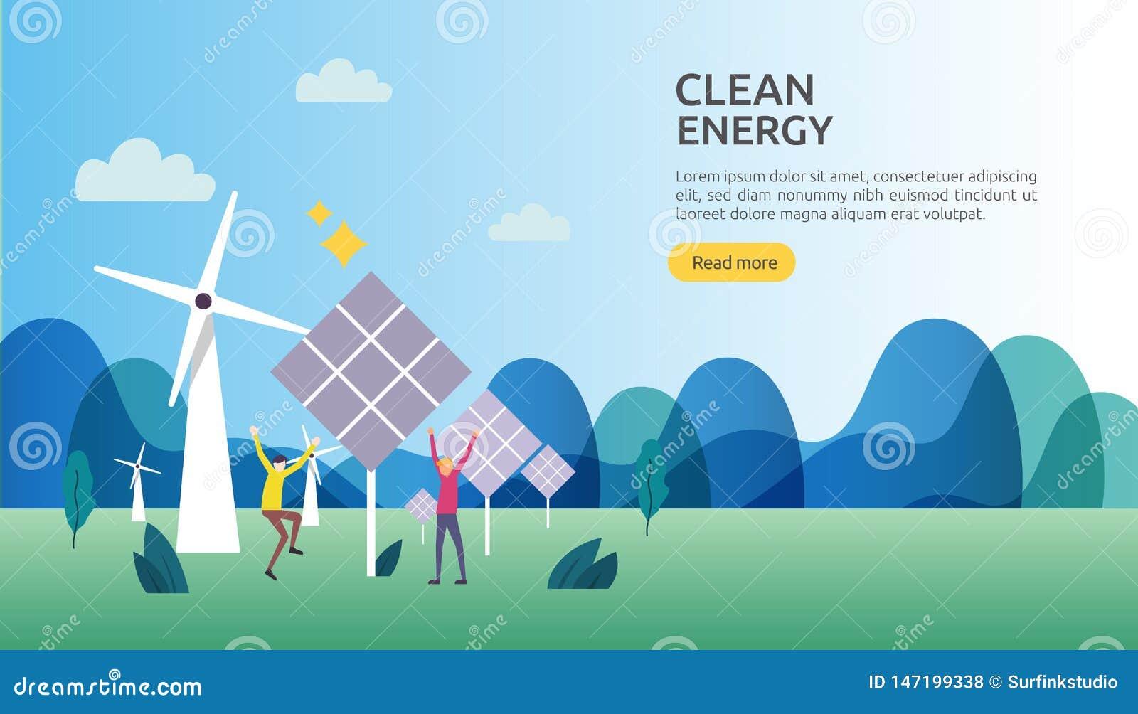 Gr?ne saubere Energiequellen auswechselbarer elektrischer Sonnensonnenkollektor und -Windkraftanlagen Klimakonzept mit Leutechara