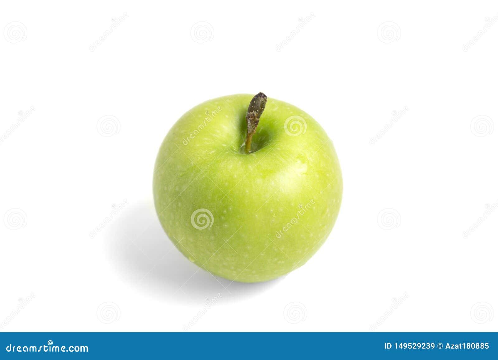 Gr?ner Apfel getrennt auf wei?em Hintergrund