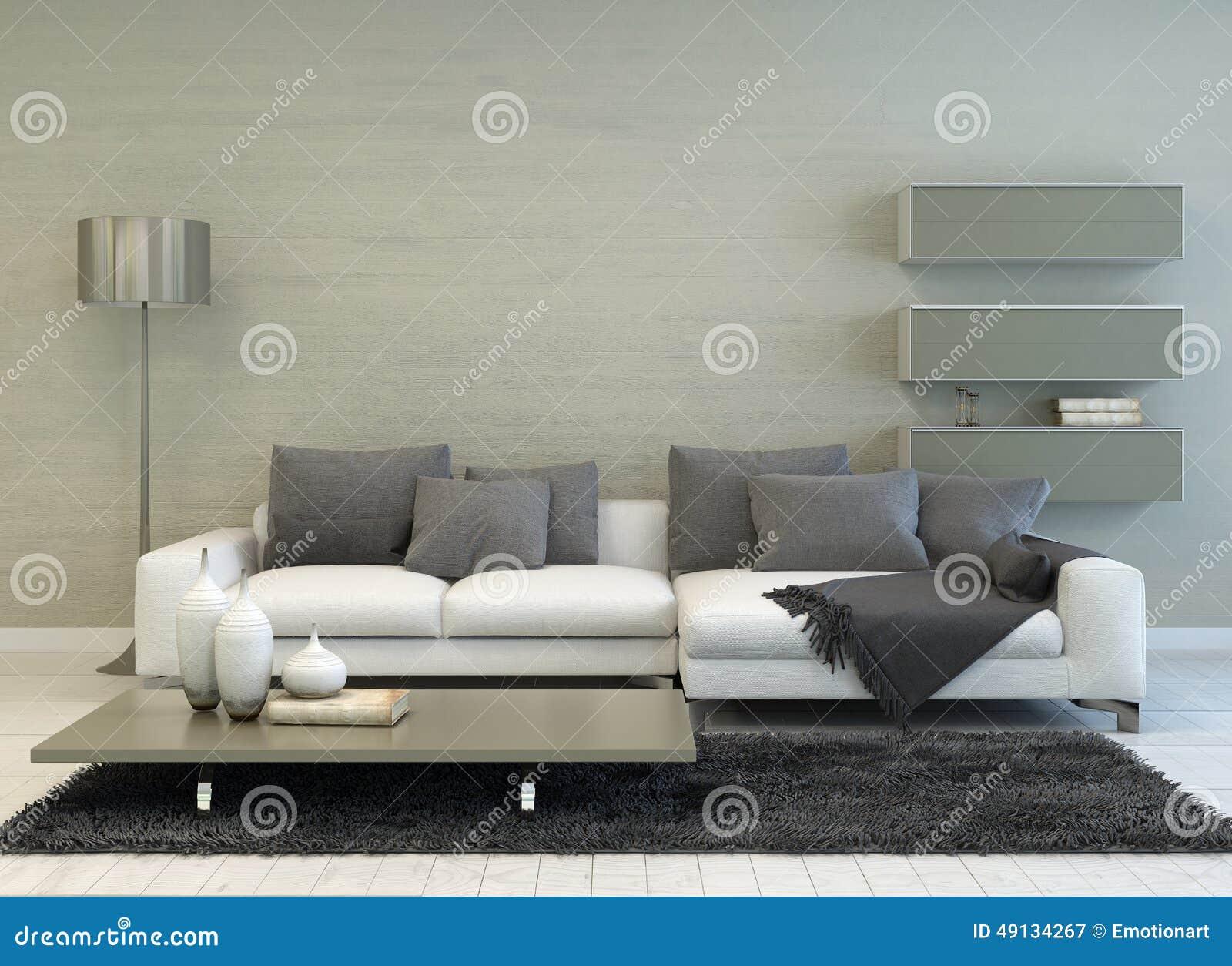 Grå och vit vardagsrum med modernt möblemang stock illustrationer ...
