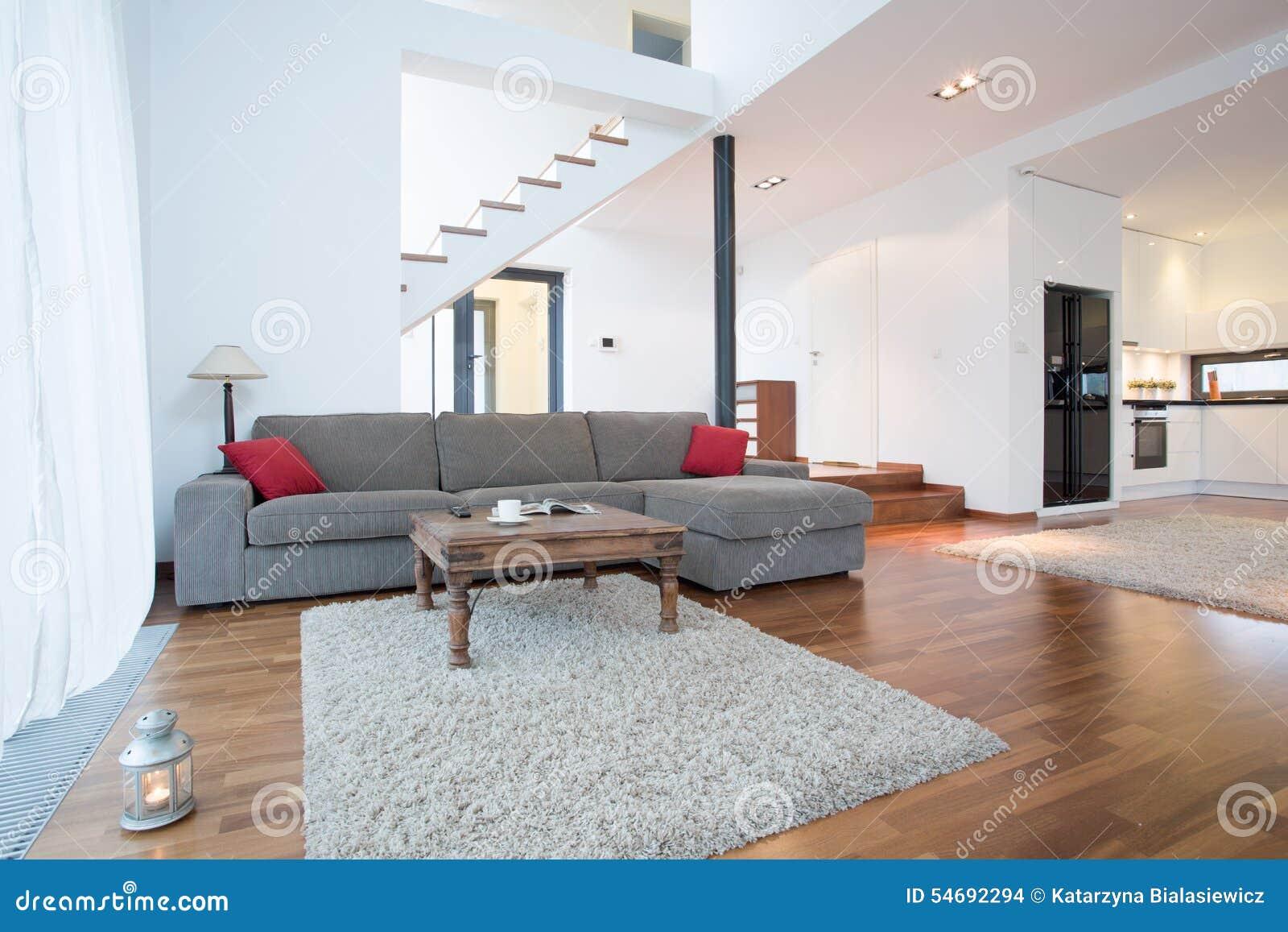 Grå soffa i vardagsrum arkivfoto   bild: 54692294