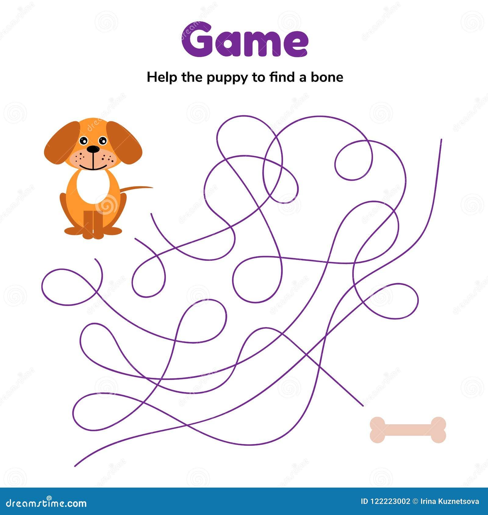 Gra dla dziecka preschool wieka labirynt lub labitynt dla dzieciaków pomaga szczeniaka znajdować kość Kołtuniasta droga