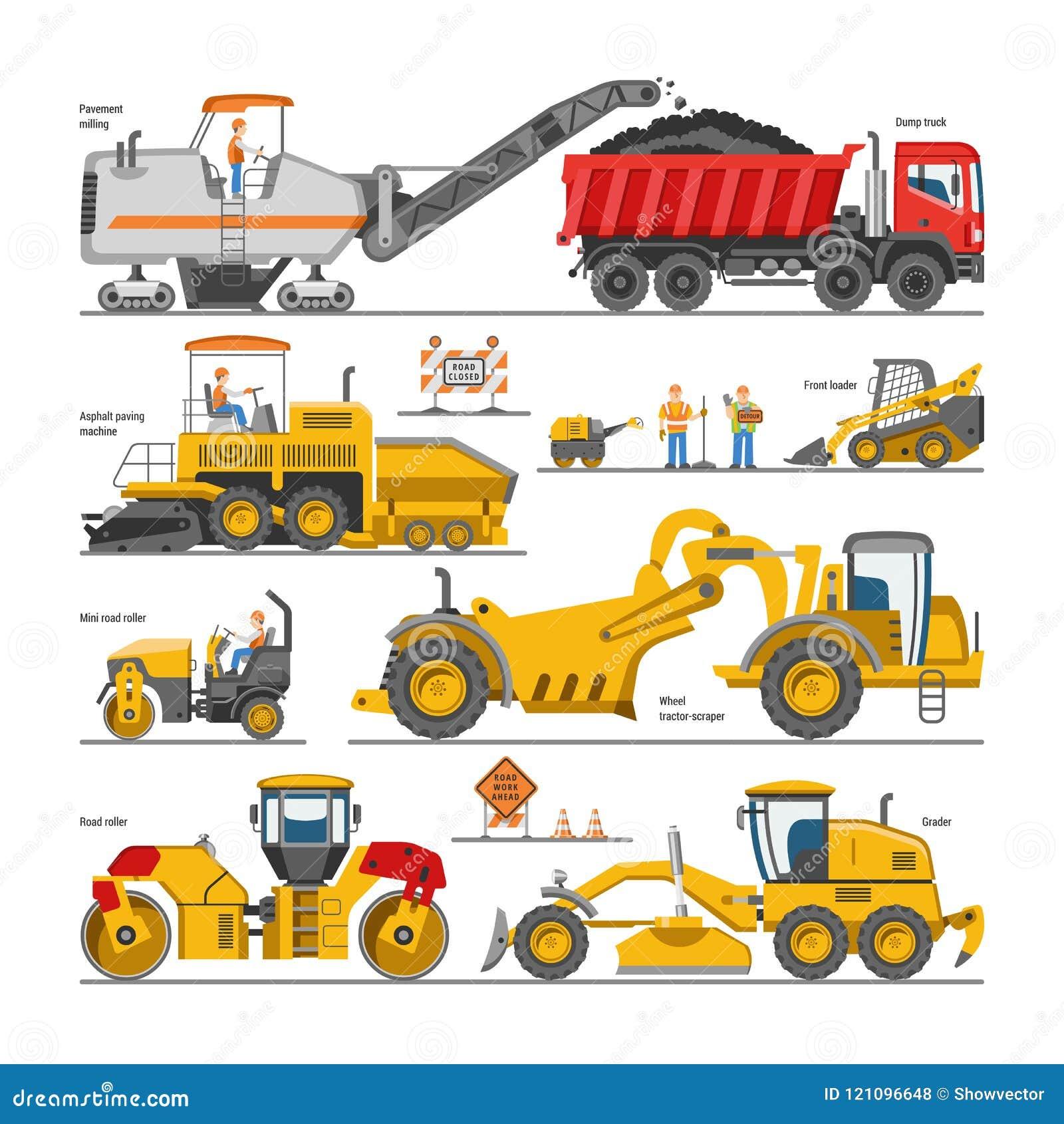 Graafwerktuig voor van de wegenbouw het vectorgraver of bulldozer opgraven met schop en de illustratie van uitgravingsmachines