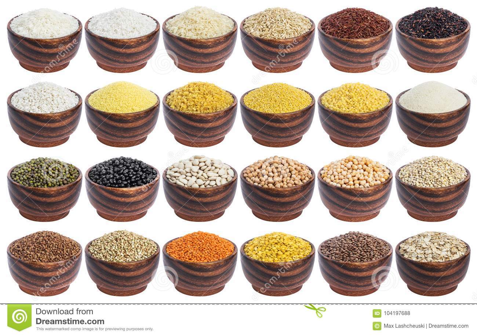 Graangewassen geplaatst die op witte achtergrond worden geïsoleerd Inzameling van verschillende grutten, rijst, bonen en linzen i