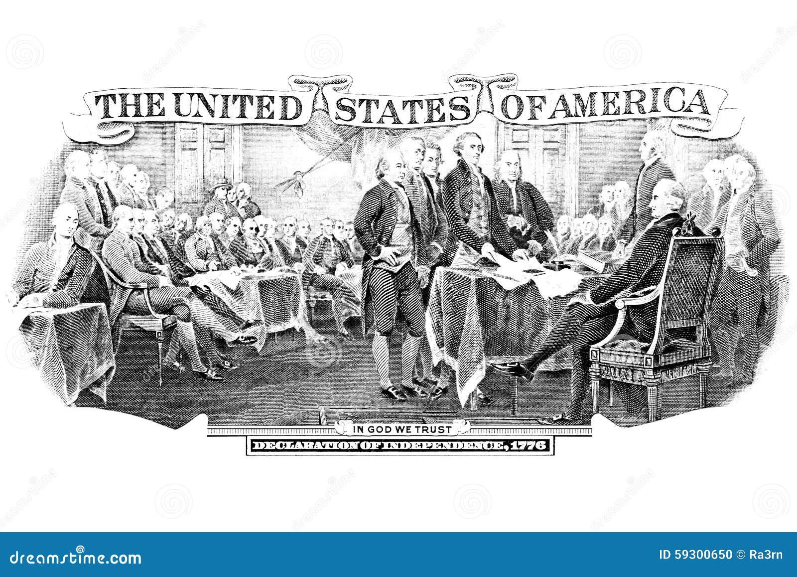 Grabado blanco y negro de la Declaración de Independencia