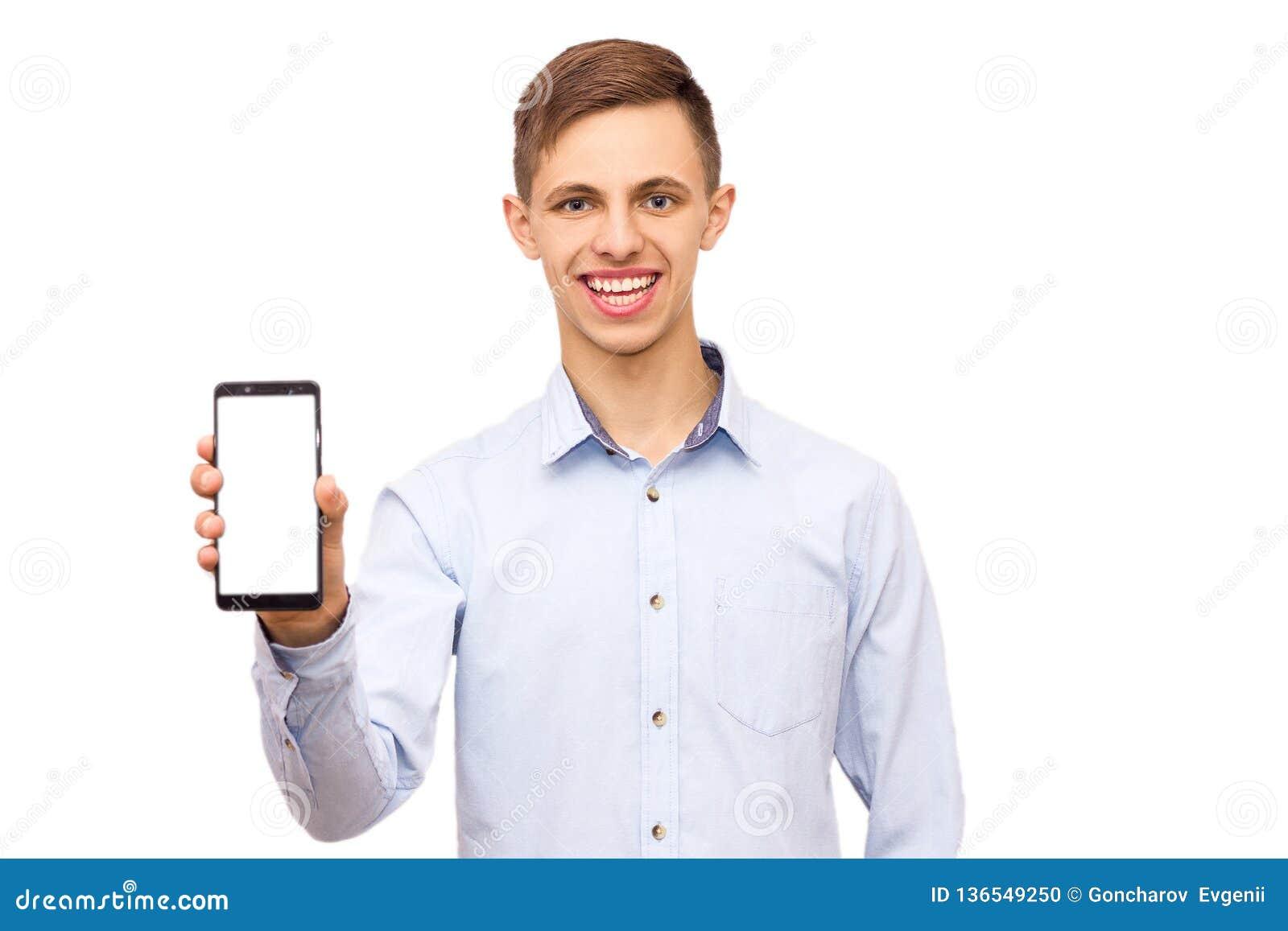 Grabben i skjorta annonserar telefonen