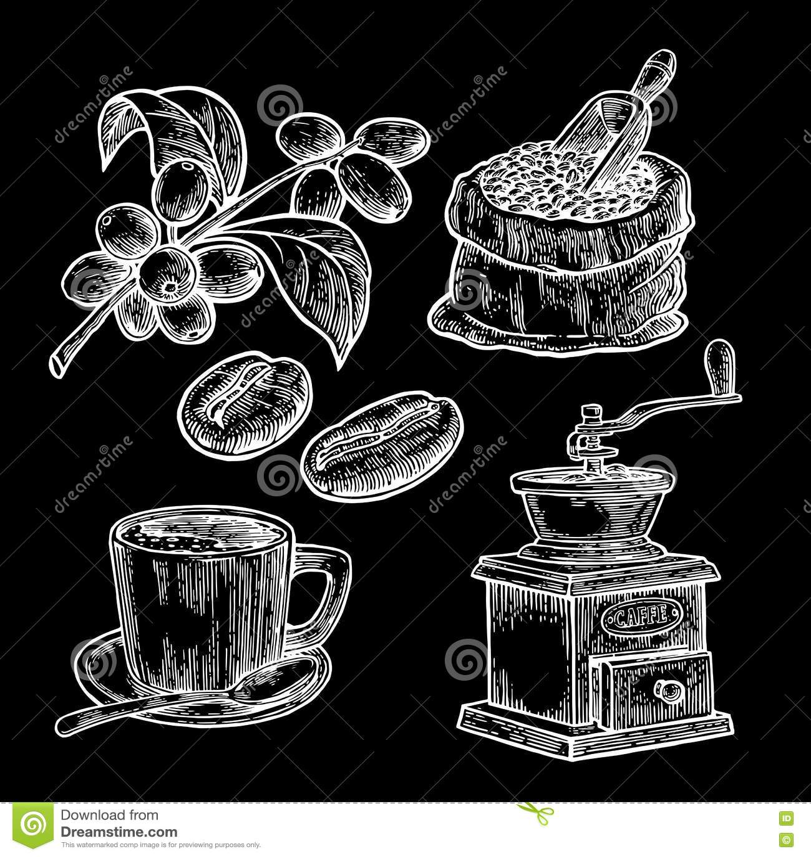 Grabije z kawowymi fasolami z drewnianą miarką i fasolami