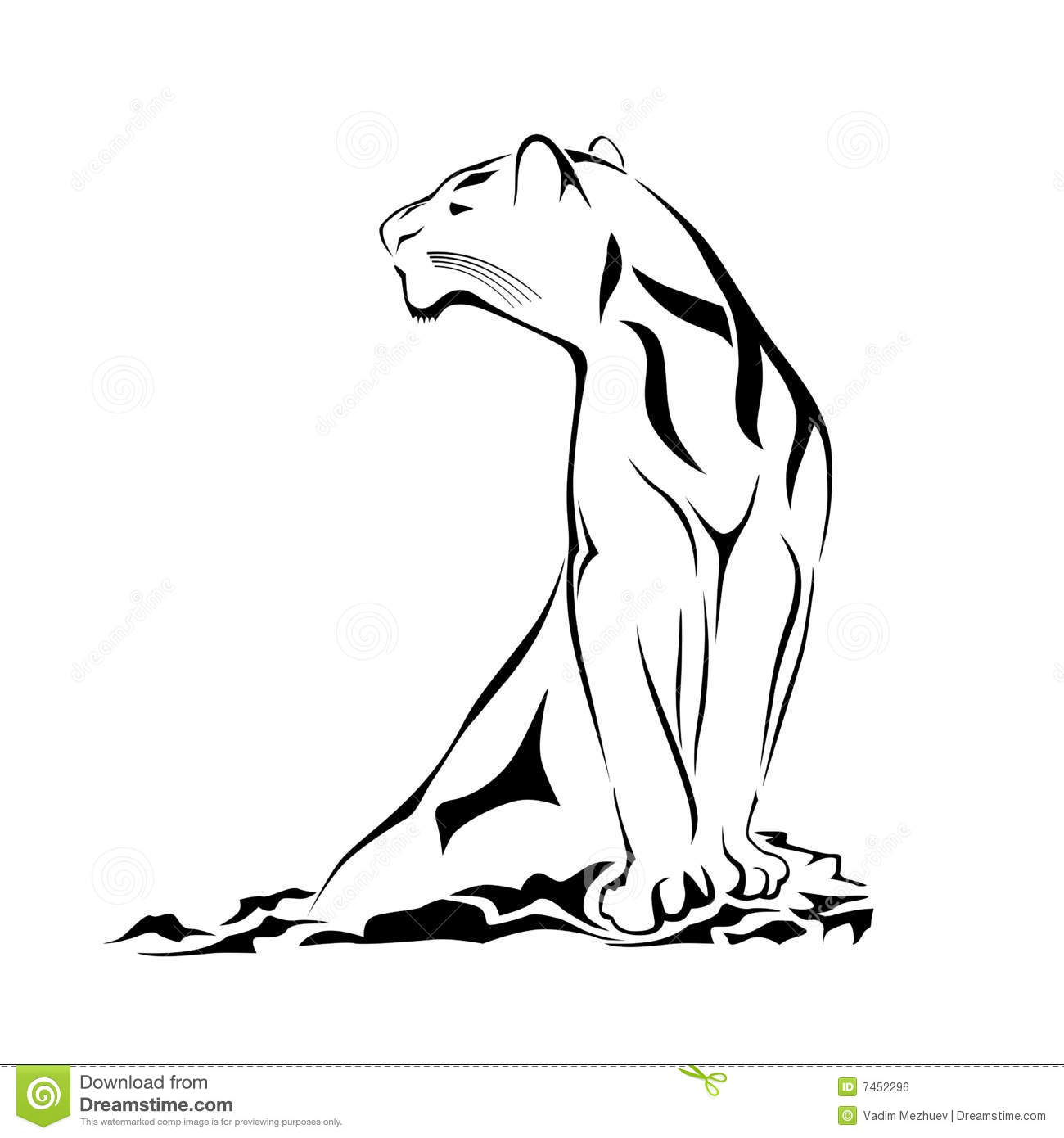 D Line Drawings Logo : Grace black panther stock vector image of jungle