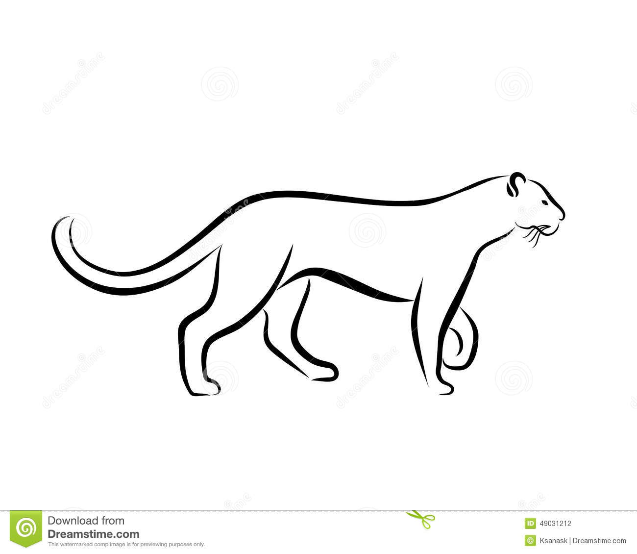 Black and white illustration with panther hand drawn sketch ink painting design element useful for logo vector file is eps8