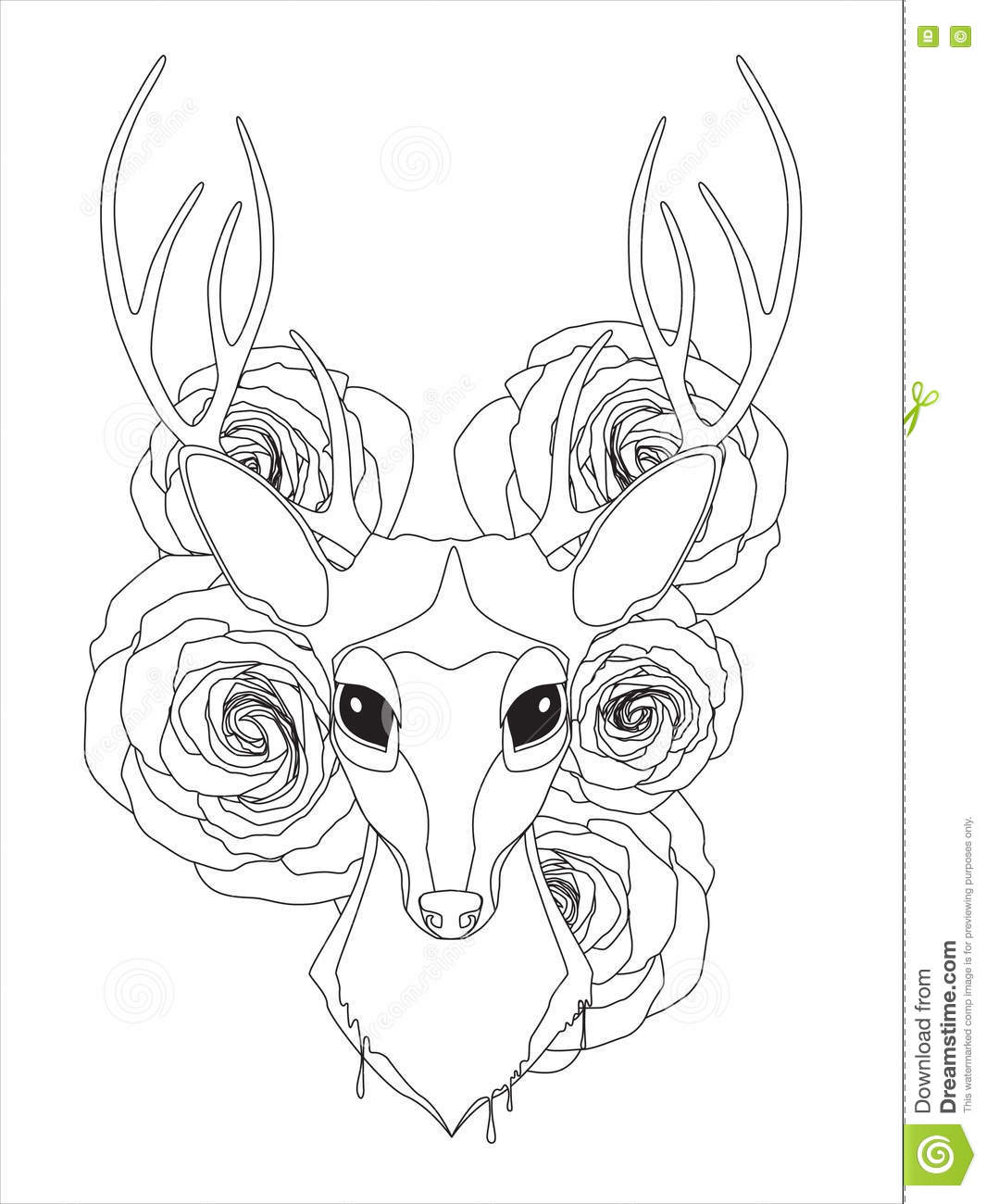 Graceful Deer Coloring Page For Adult In Exquisite Style Stock ...