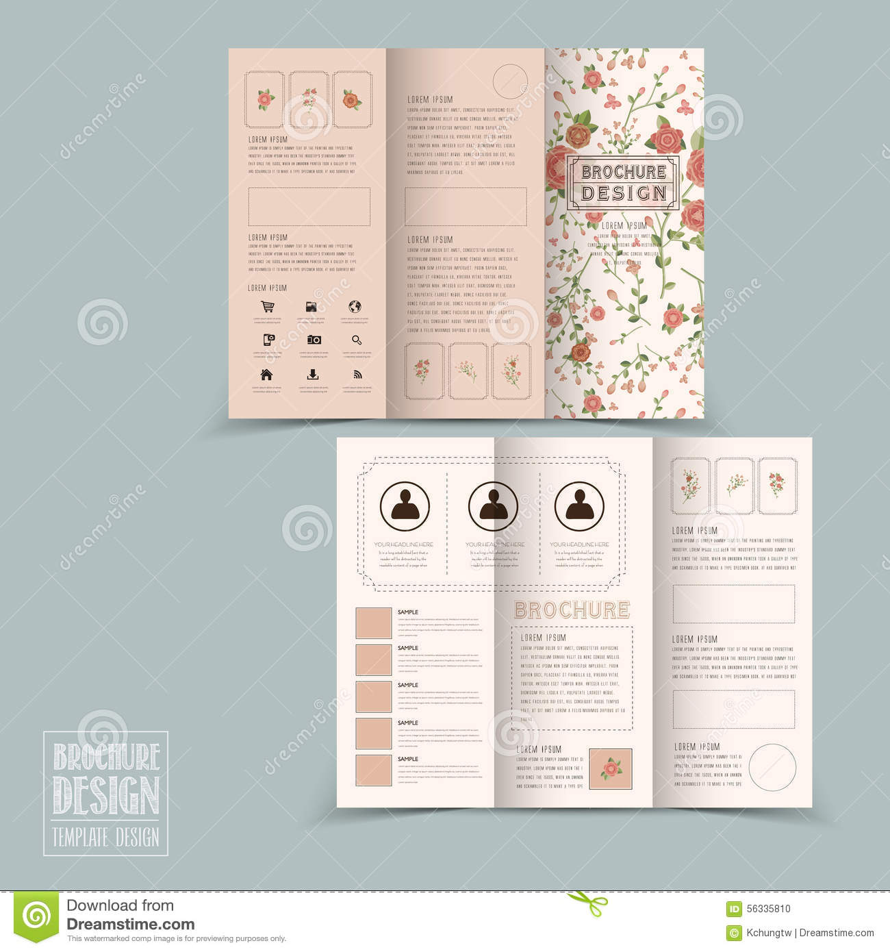 Graceful Floral Tri Fold Brochure Template Design Stock