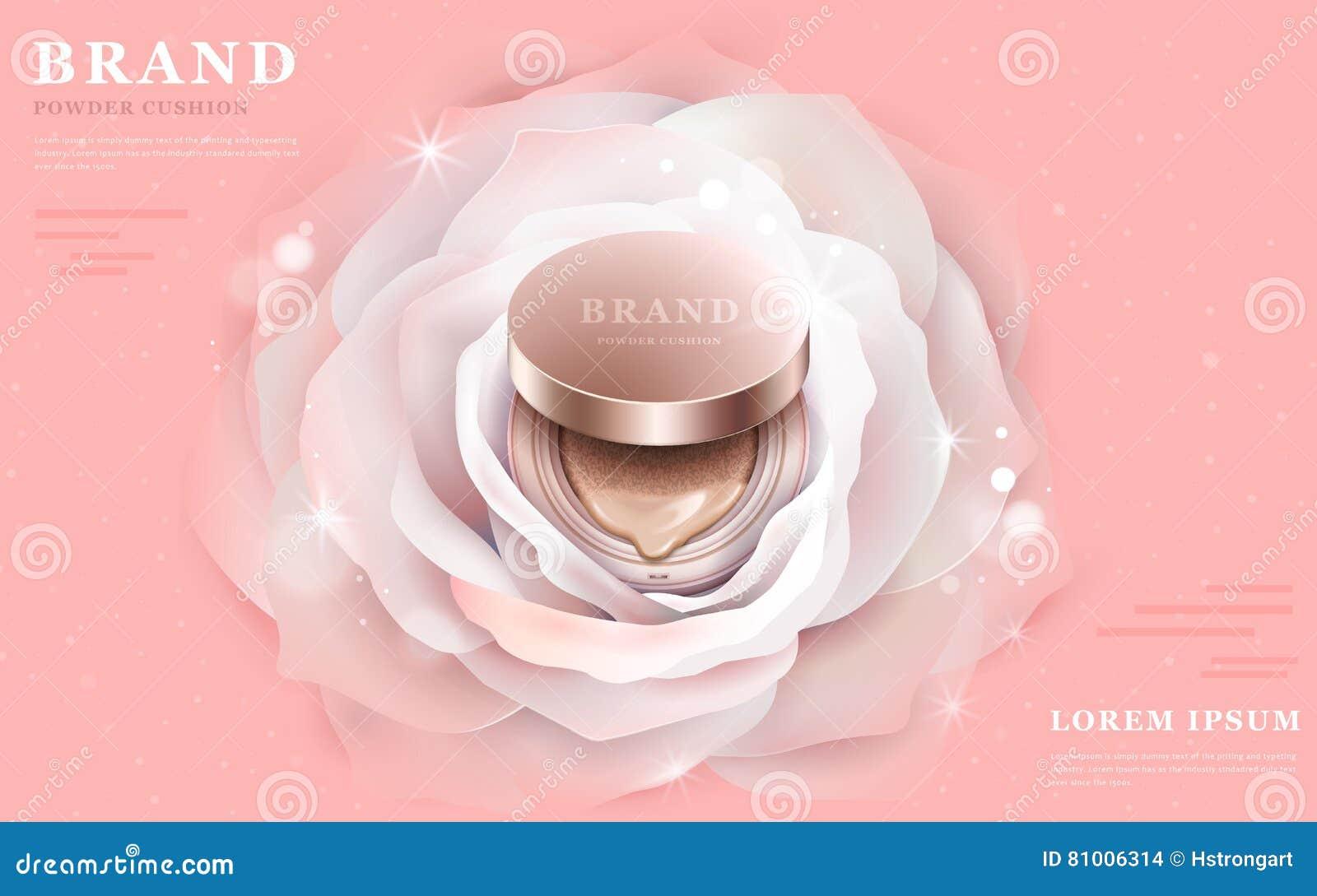 Graceful Powder Cushion Ads Stock Vector - Illustration of female ...