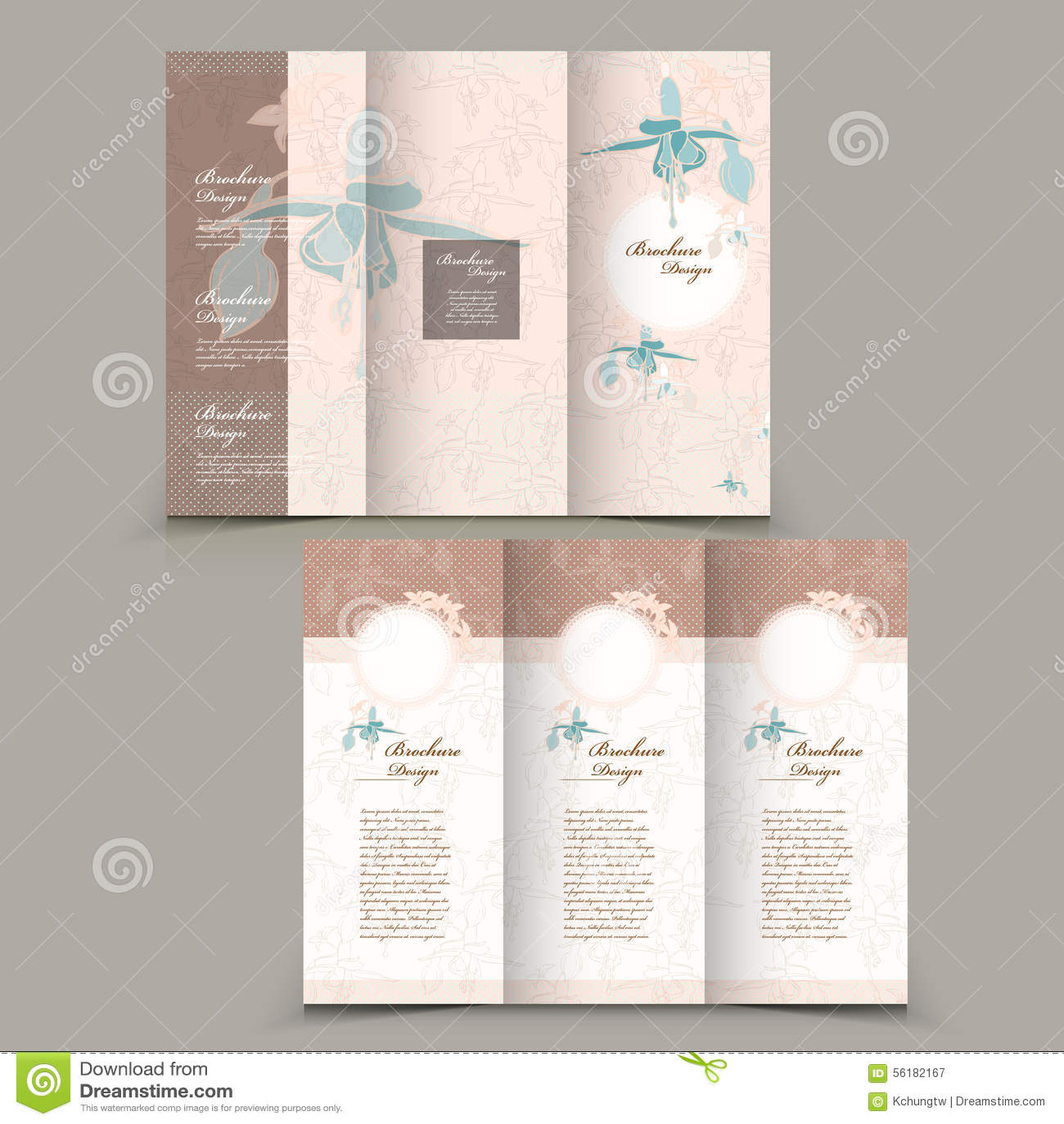 Graceful Tri Fold Brochure Design Stock Vector Illustration Of