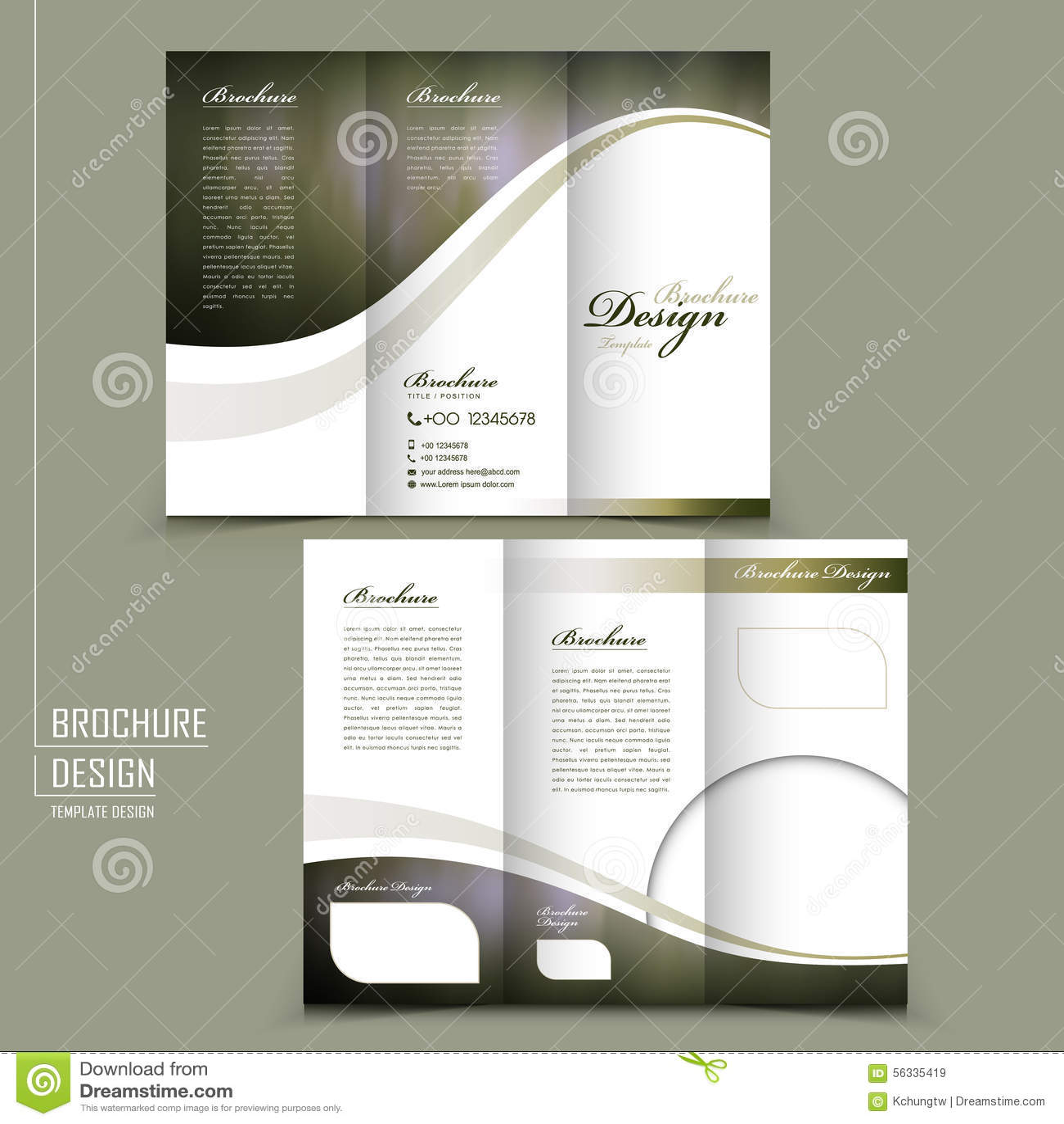 elegant brochure template - graceful tri fold brochure template design stock vector