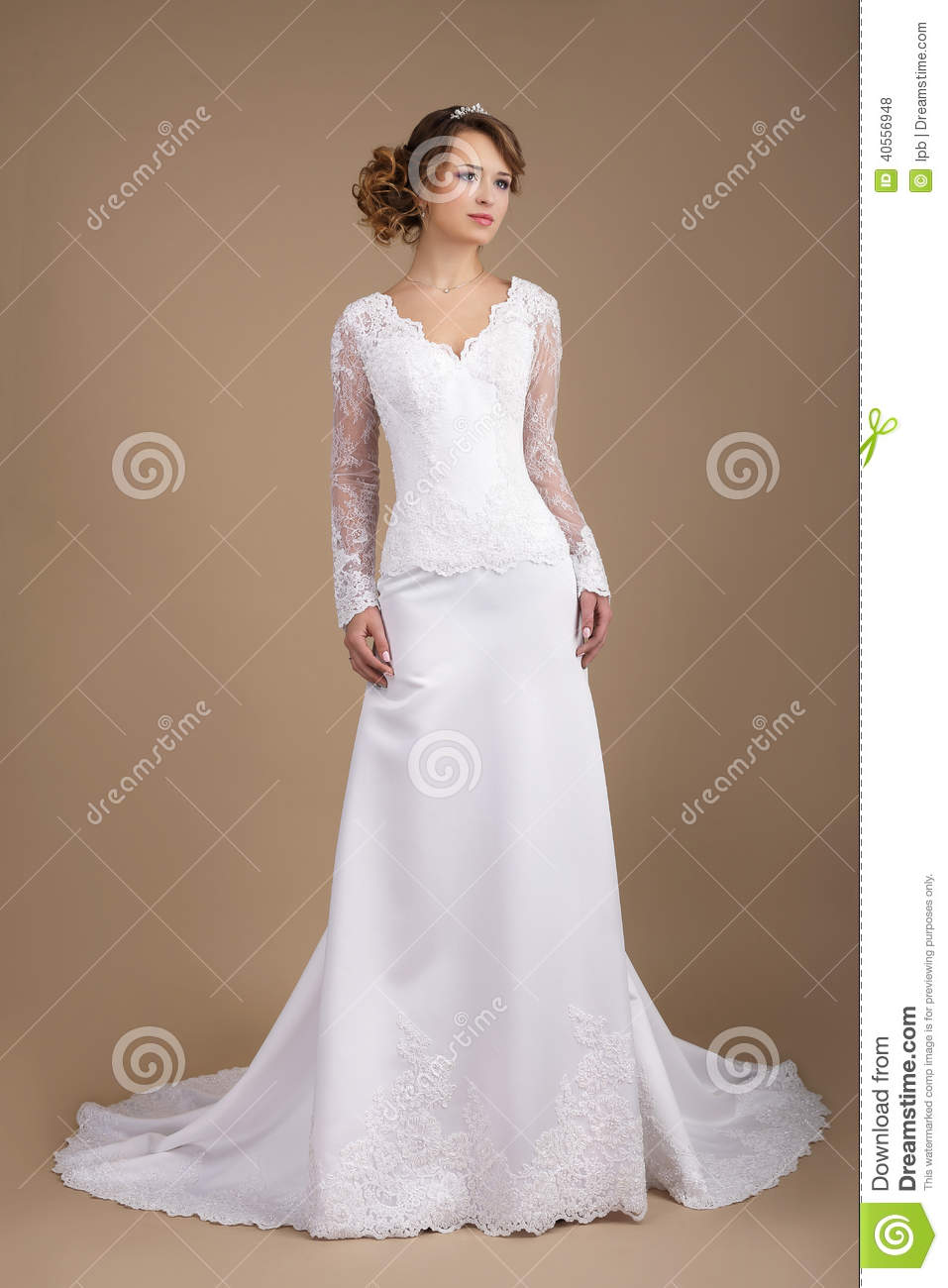 Graceful Young Bride In Wedding Dress Stock Photo