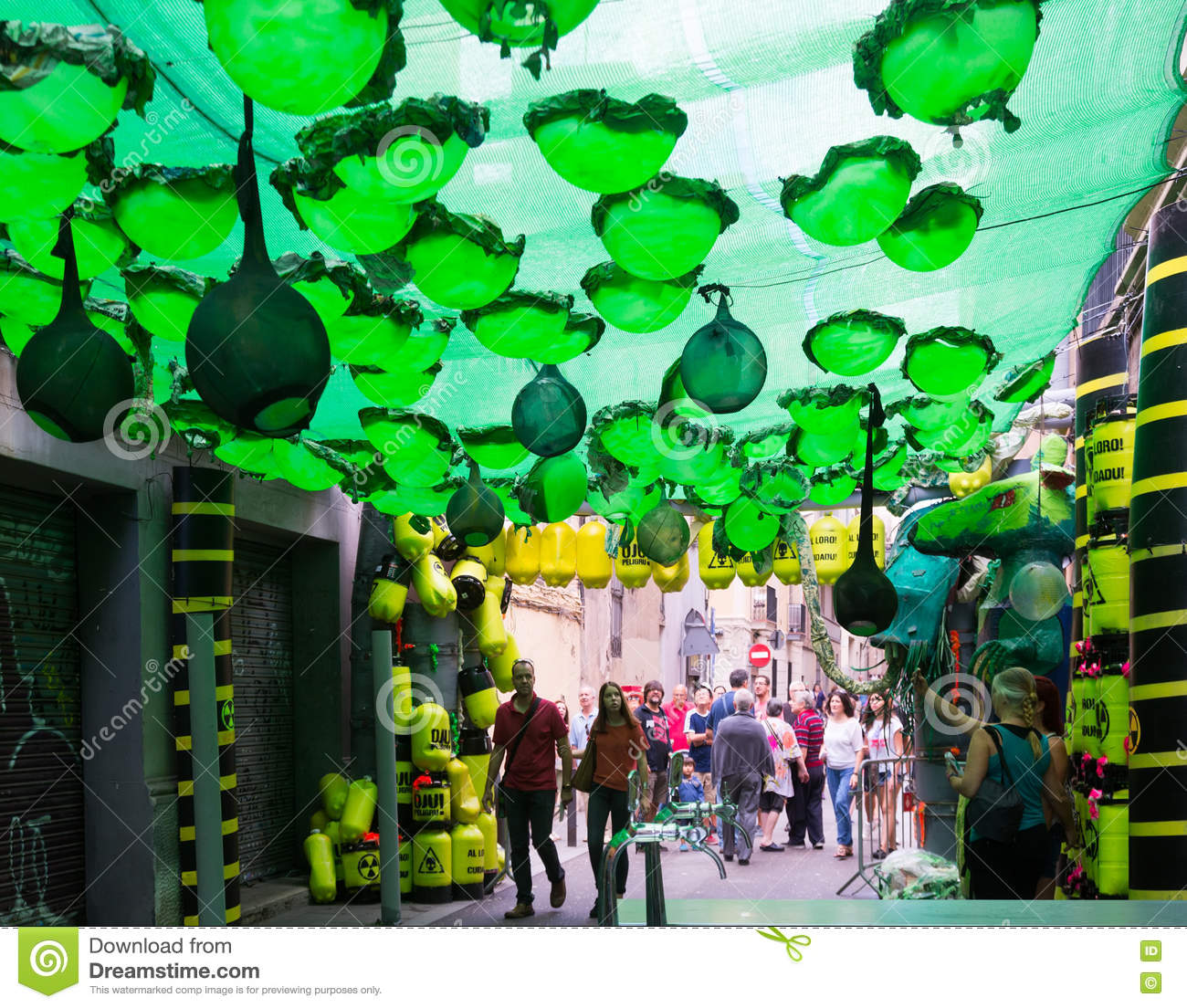 Decorations In Spain Gracia Festival Decorations In Barcelona Editorial Image Image