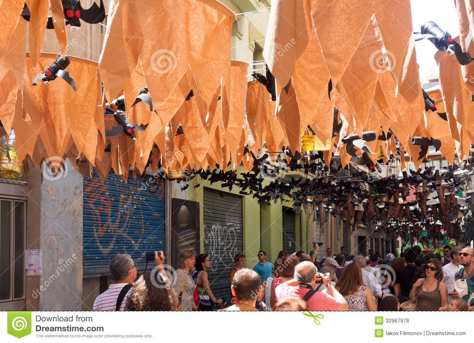Decorations In Spain Gracia Festival Decorations In Barcelona Spain Editorial