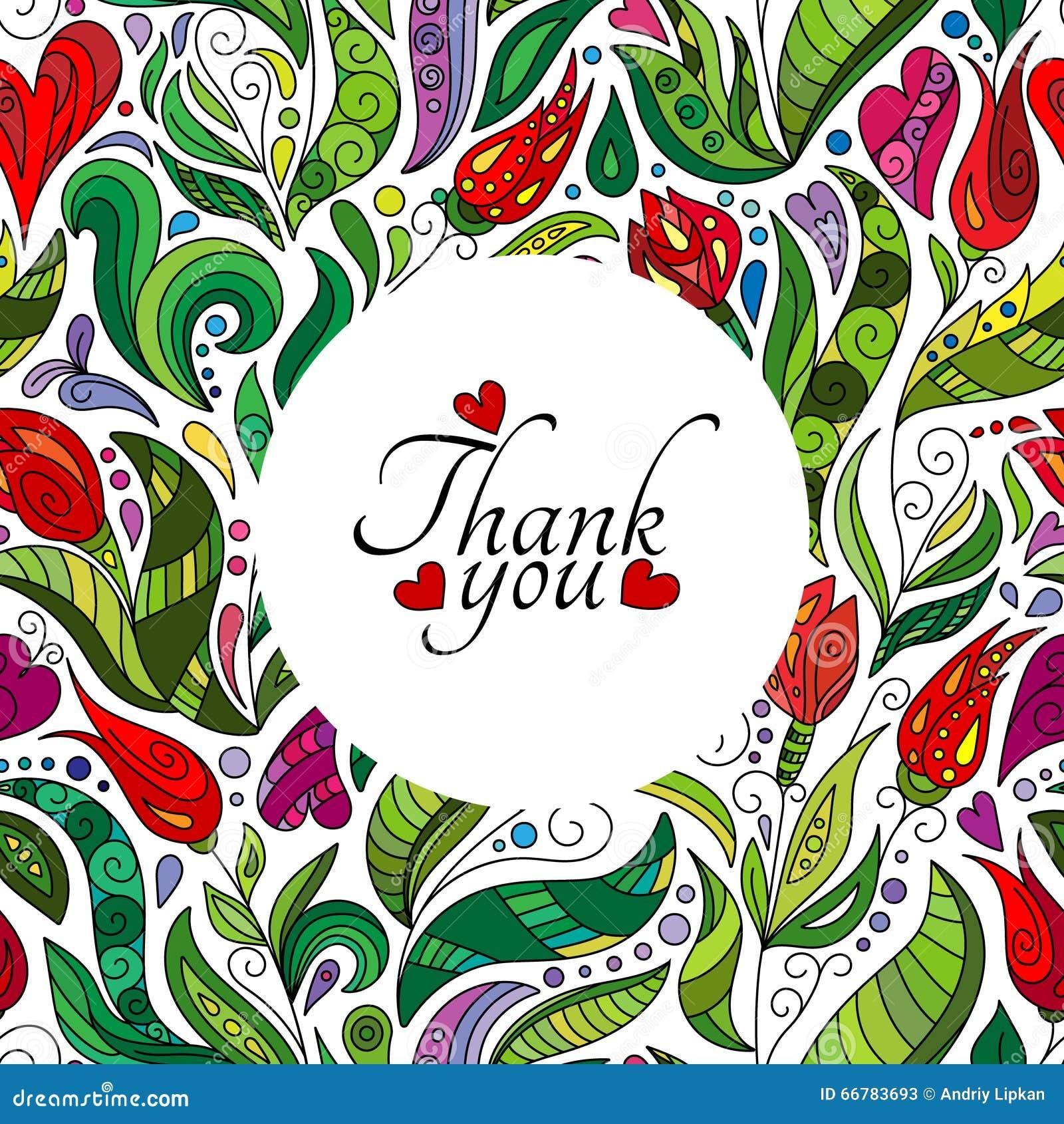 Gracias Diseño De Tarjeta, Las Flores Lindas Dibujadas Mano Marco ...