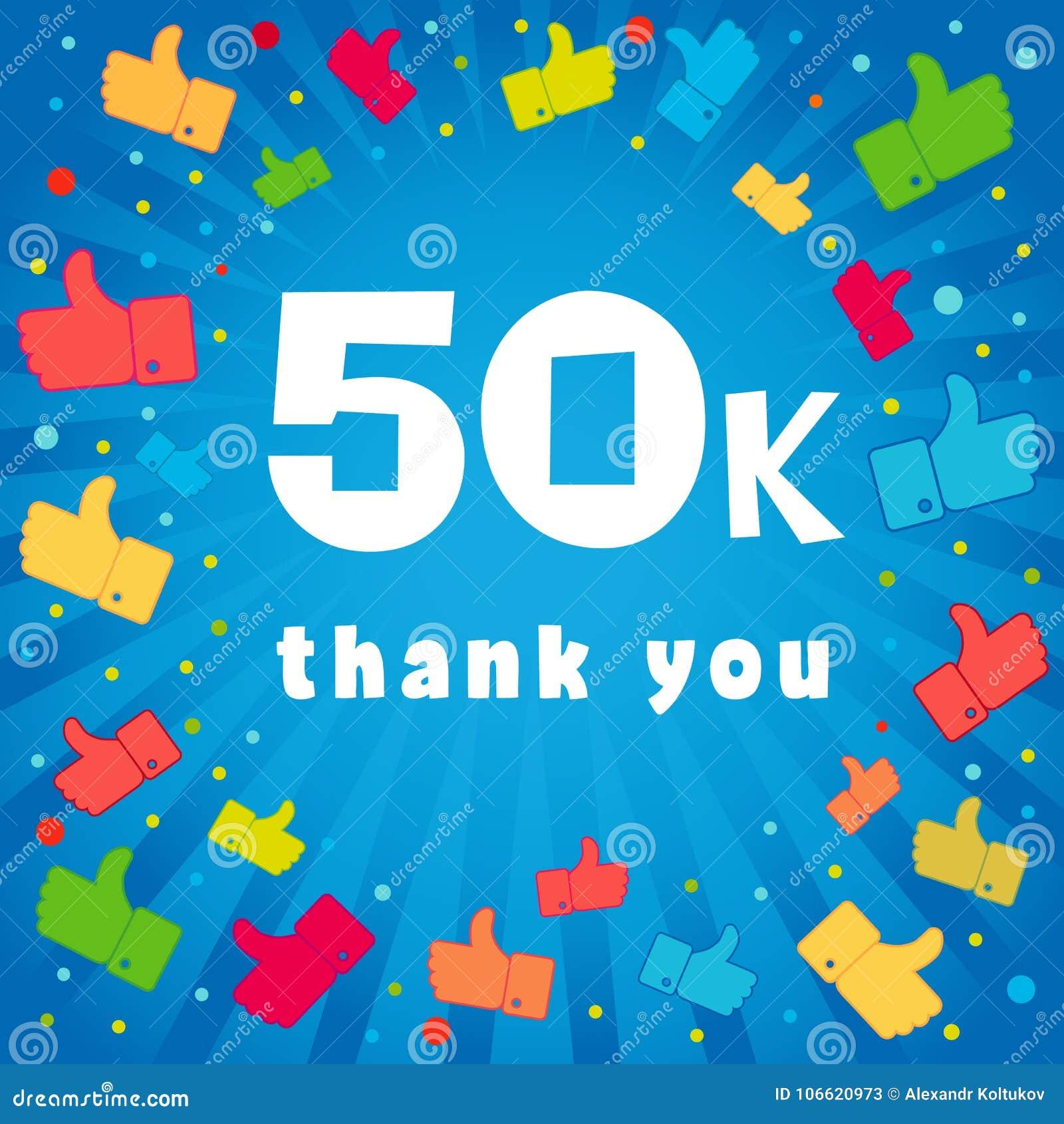 Gracias Tarjeta De 50000 Seguidores Ilustración del Vector ...