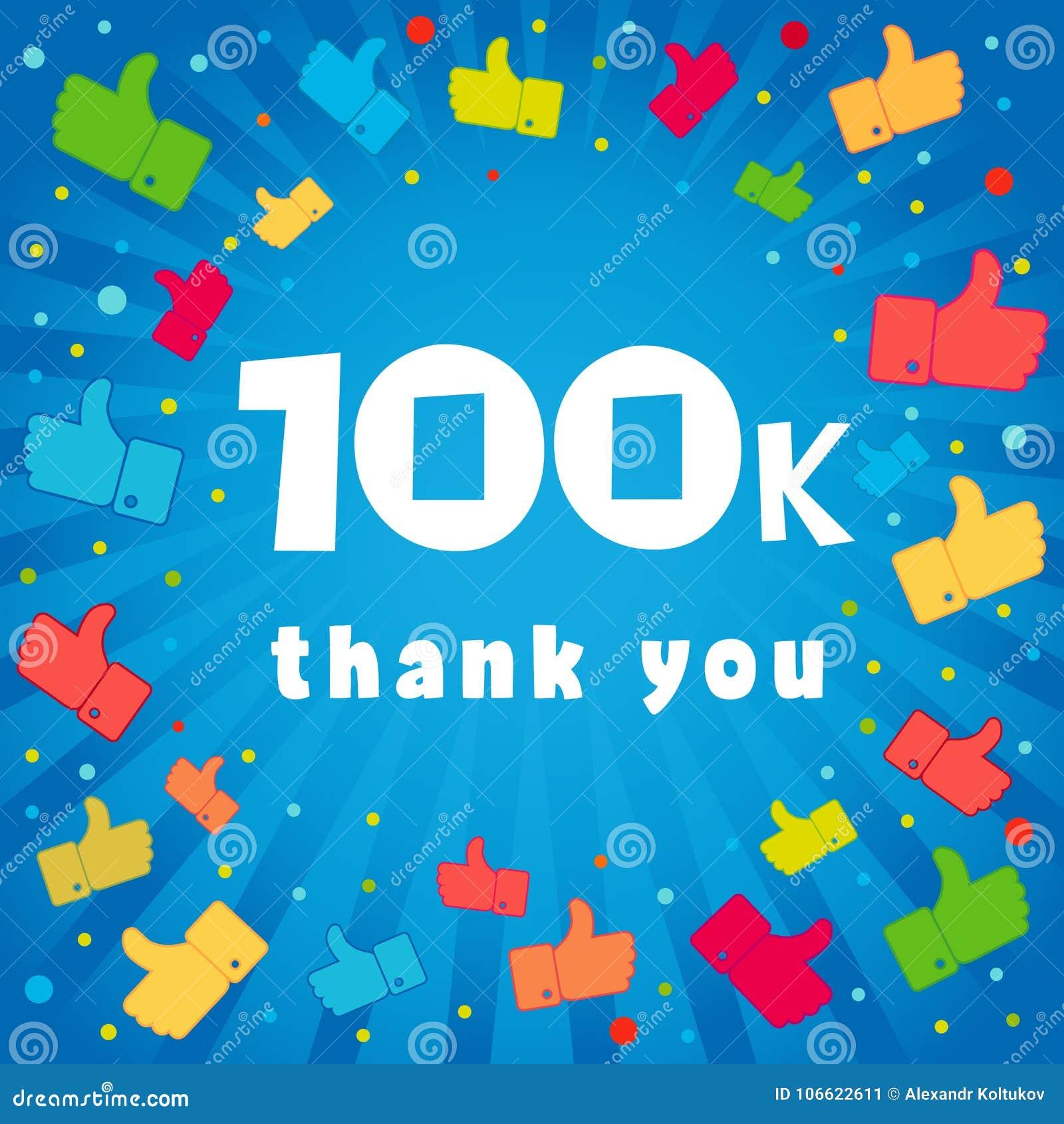 Gracias Tarjeta De 100000 Seguidores Ilustración del Vector ...