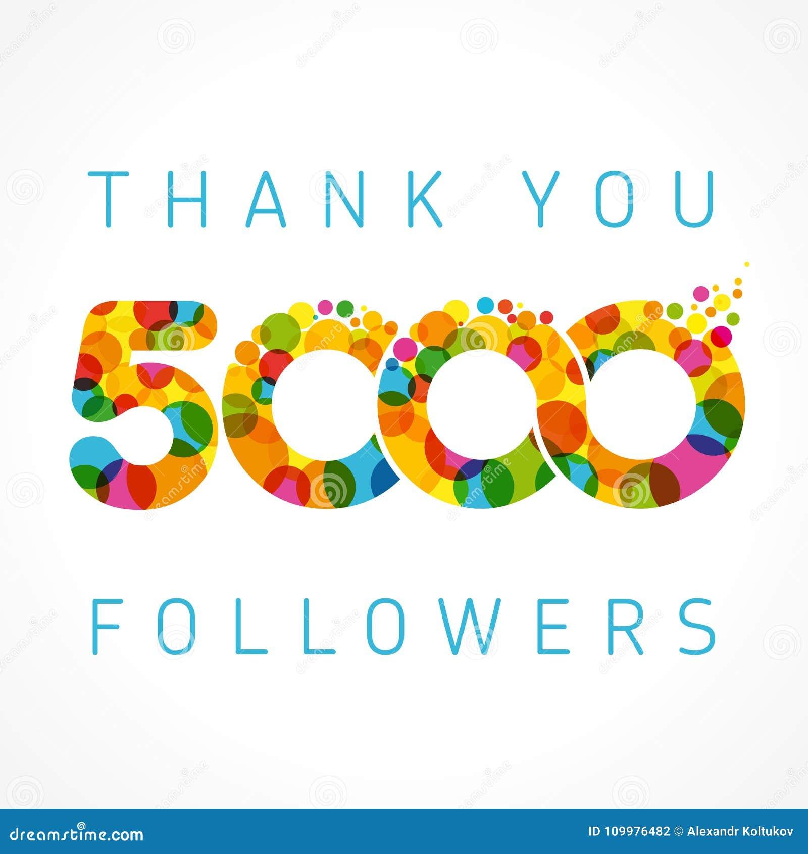Gracias Tarjeta De 5000 Seguidores Ilustración del Vector ...