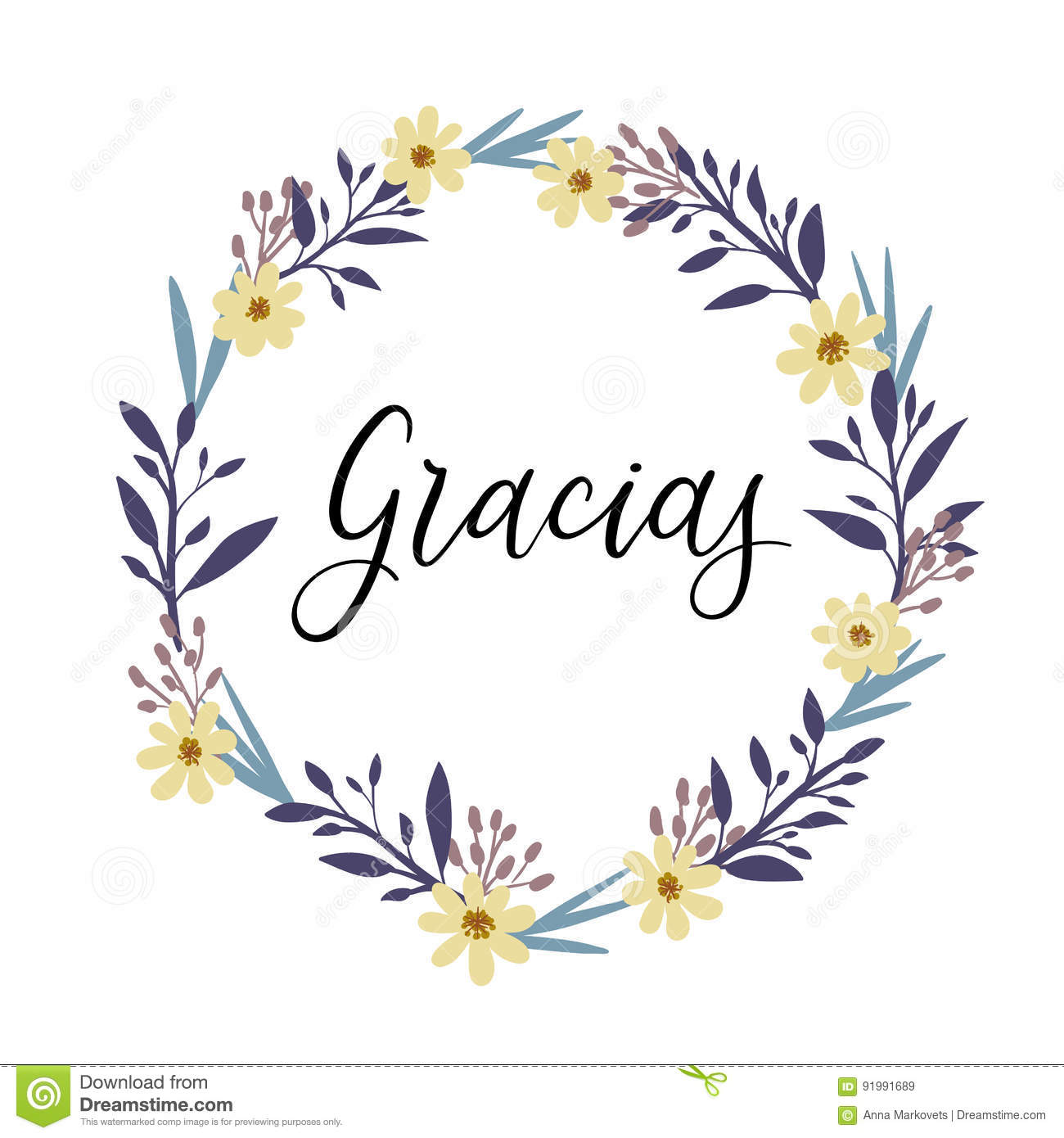 Gracias Thank You In Spanish Calligraphy Greeting Card Vector